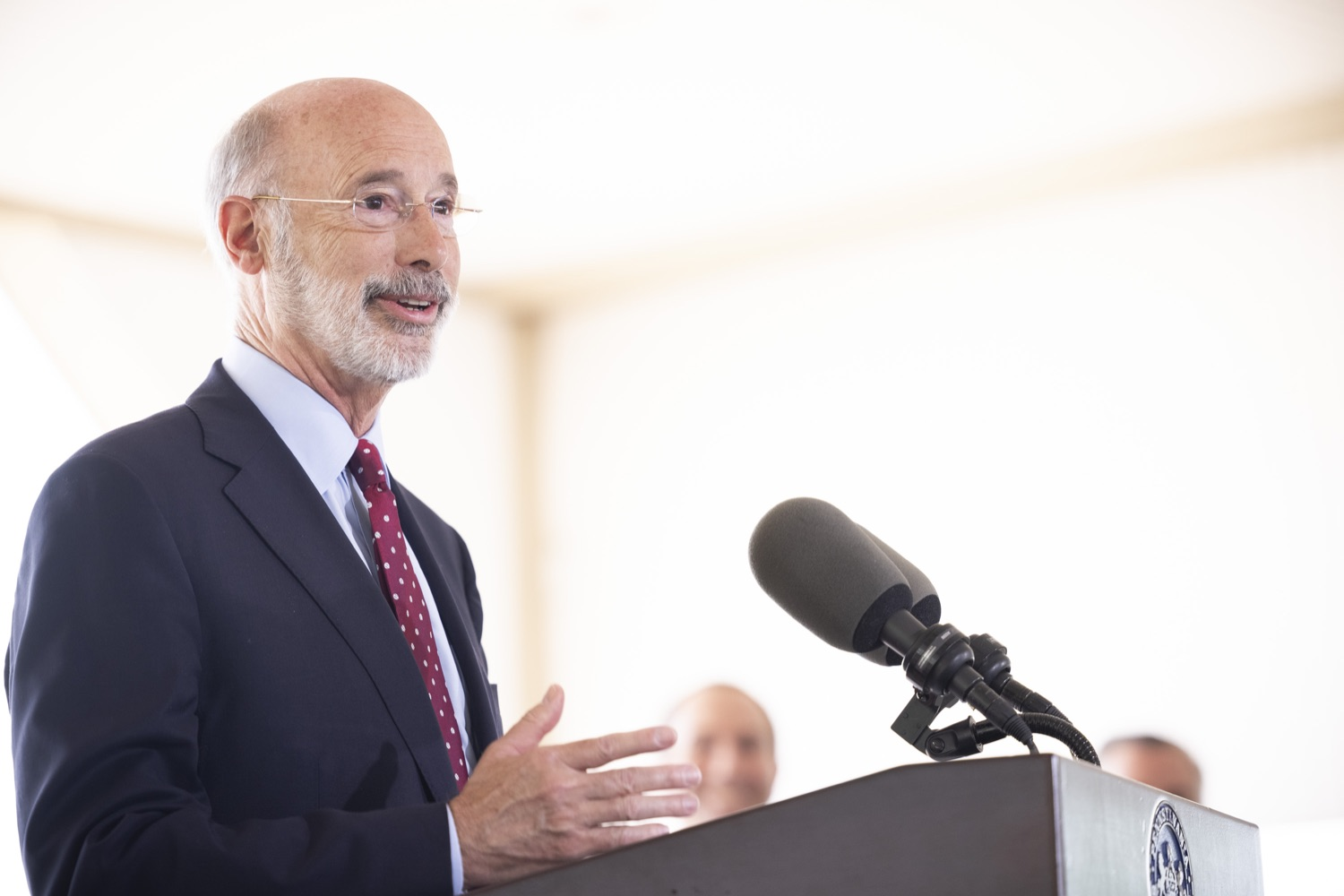 """<a href=""""https://filesource.wostreaming.net/commonwealthofpa/photo/18932_gov_chirp_dz_021.jpg"""" target=""""_blank"""">⇣Download Photo<br></a>Pennsylvania Governor Tom Wolf speaking with the press.  Governor Tom Wolf today joined the Pennsylvania Department of Community and Economic Development, Bucks County Commissioners, Bristol Borough Mayor Joseph Saxton, local lawmakers, Bucks County Economic Development Corporation, Visit Bucks County, the Bucks County Redevelopment Authority, and the owners of Itri Wood Fired to highlight the $7 million in grant funding provided to Bucks County restaurants through the COVID-19 Hospitality Industry Recovery Program(CHIRP).  JULY 16, 2021 - BRISTOL, PA"""
