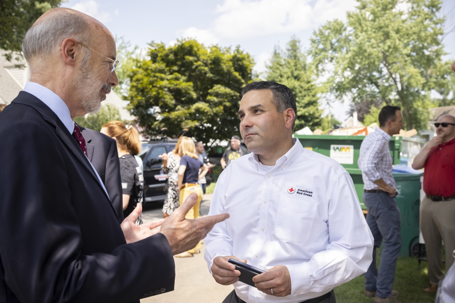 """<a href=""""https://filesource.wostreaming.net/commonwealthofpa/photo/18934_gov_stormDamage_01.jpg"""" target=""""_blank"""">⇣Download Photo<br></a>Gov. Wolf Tours Bucks County Communities Affected by Severe Weather, Flooding"""