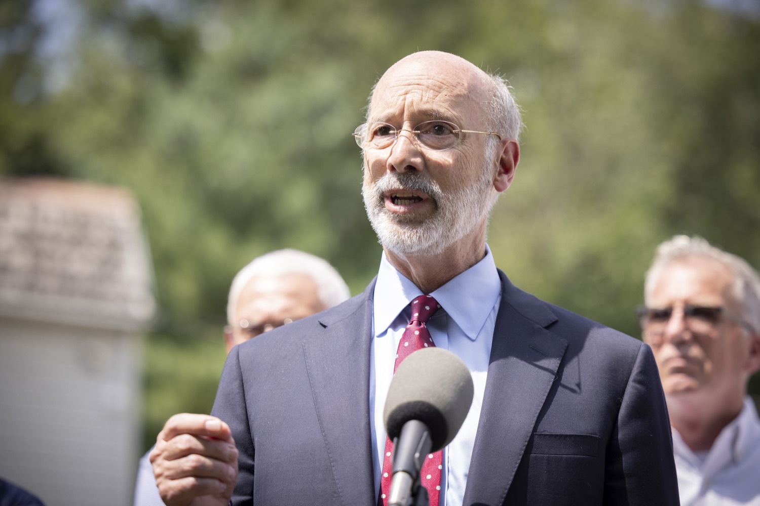 """<a href=""""https://filesource.wostreaming.net/commonwealthofpa/photo/18934_gov_stormdamage_dz_005.jpg"""" target=""""_blank"""">⇣Download Photo<br></a>Pennsylvania Governor Tom Wolf speaking with the press.Governor Tom Wolf visited Bristol and Andalusia in Bucks County to tour communities affected by severe weather and flash flooding. The governor was joined by local officials and legislators to visit damaged homes and speak to residents. JULY 16, 2021 - ANDALUSIA, PA"""