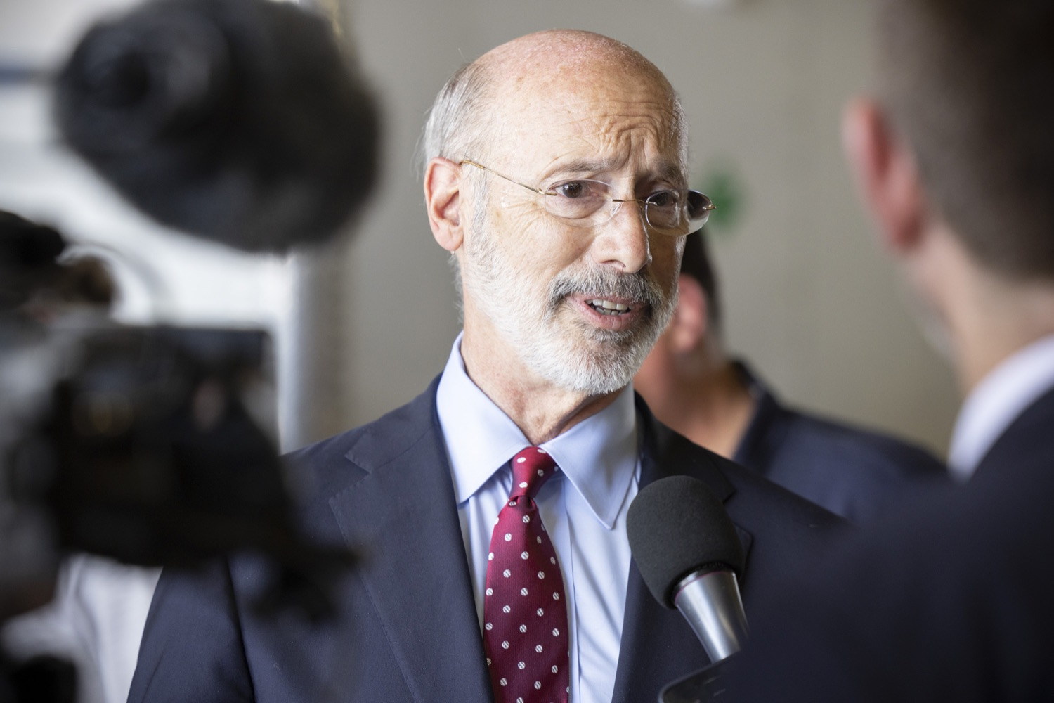 """<a href=""""https://filesource.wostreaming.net/commonwealthofpa/photo/18936_gov_taskforceone_dz_007.jpg"""" target=""""_blank"""">⇣Download Photo<br></a>Pennsylvania Governor Tom Wolf speaking with the press.  Governor Tom Wolf thanked members of Pennsylvania-Task Force 1 (PA- TF1), who returned today to Philadelphia after spending two weeks assisting with search and rescue efforts at the site of the recent deadly building collapse in Surfside, Florida.  Philadelphia, Pa.  July 16, 2021"""