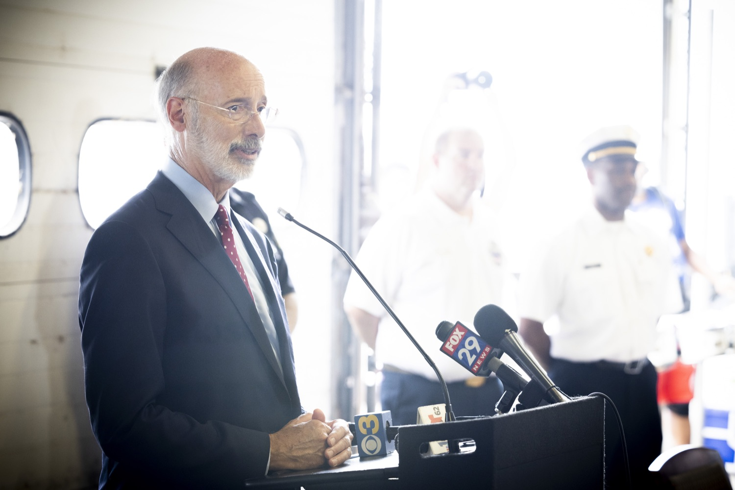 """<a href=""""https://filesource.wostreaming.net/commonwealthofpa/photo/18936_gov_taskforceone_dz_009.jpg"""" target=""""_blank"""">⇣Download Photo<br></a>Pennsylvania Governor Tom Wolf speaking with the press.  Governor Tom Wolf thanked members of Pennsylvania-Task Force 1 (PA- TF1), who returned today to Philadelphia after spending two weeks assisting with search and rescue efforts at the site of the recent deadly building collapse in Surfside, Florida.  Philadelphia, Pa.  July 16, 2021"""