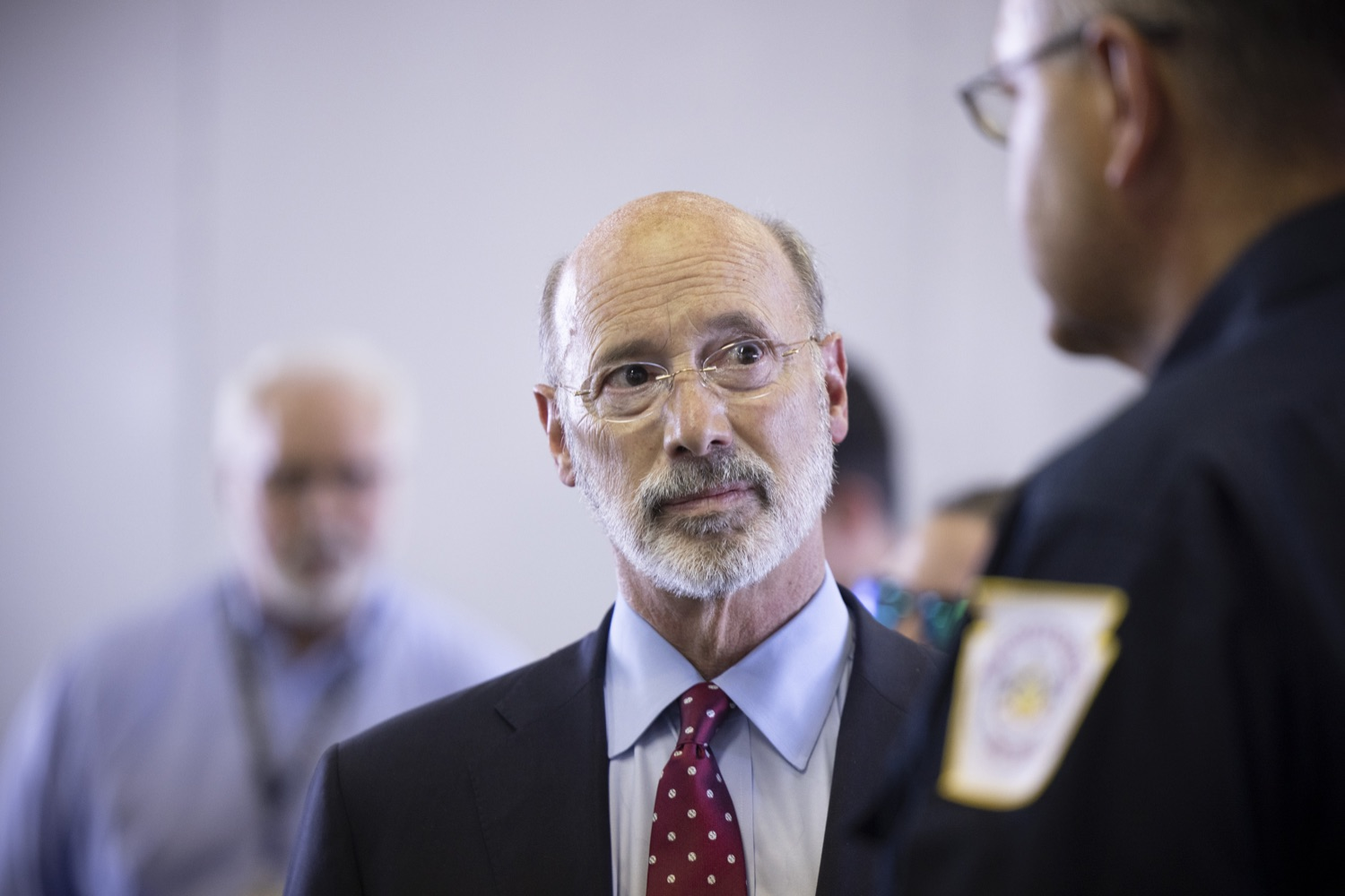 """<a href=""""https://filesource.wostreaming.net/commonwealthofpa/photo/18936_gov_taskforceone_dz_012.jpg"""" target=""""_blank"""">⇣Download Photo<br></a>Governor Tom Wolf speaking to PEMA Director Randy Padfield.  Governor Tom Wolf thanked members of Pennsylvania-Task Force 1 (PA- TF1), who returned today to Philadelphia after spending two weeks assisting with search and rescue efforts at the site of the recent deadly building collapse in Surfside, Florida.  Philadelphia, Pa.  July 16, 2021"""