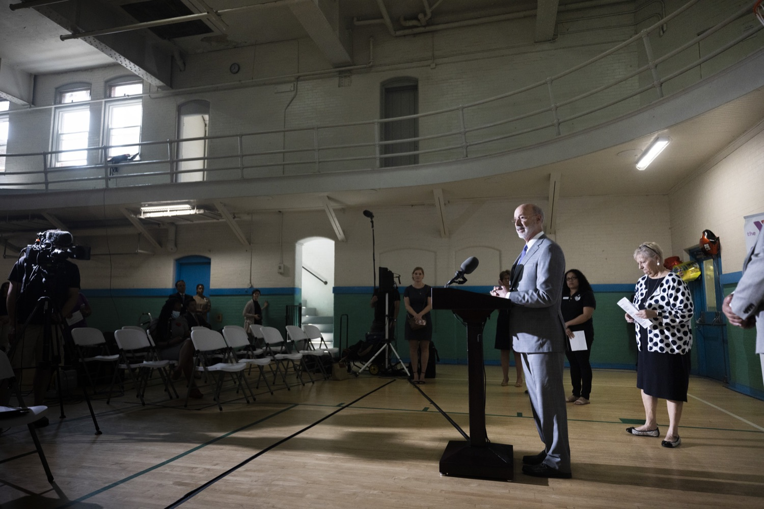 """<a href=""""https://filesource.wostreaming.net/commonwealthofpa/photo/18940_gov_childhooded_dz_002.jpg"""" target=""""_blank"""">⇣Download Photo<br></a>Pennsylvania Governor Tom Wolf speaking with the press.  Governor Tom Wolf today was joined by advocates and legislative members to celebrate the $30 million increase in early childhood education funding in the state budget at the YMCA in Reading. This new funding will allow an additional 3,270 children to enroll in the states high-quality early learning programs.  Reading, PA - July 19, 2021"""