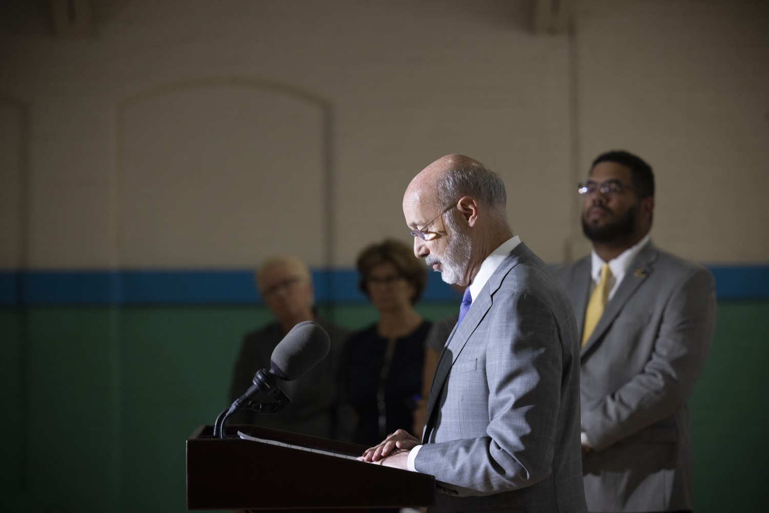 """<a href=""""https://filesource.wostreaming.net/commonwealthofpa/photo/18940_gov_childhooded_dz_003.jpg"""" target=""""_blank"""">⇣Download Photo<br></a>Pennsylvania Governor Tom Wolf speaking with the press.  Governor Tom Wolf today was joined by advocates and legislative members to celebrate the $30 million increase in early childhood education funding in the state budget at the YMCA in Reading. This new funding will allow an additional 3,270 children to enroll in the states high-quality early learning programs.  Reading, PA - July 19, 2021"""