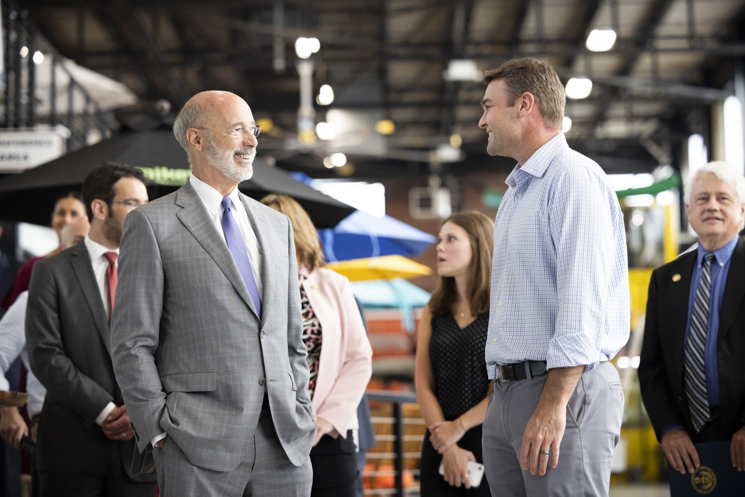 """<a href=""""https://filesource.wostreaming.net/commonwealthofpa/photo/18941_gov_economicDevelopment_dz_003.jpg"""" target=""""_blank"""">⇣Download Photo<br></a>Keith Caldwell, Partner  Factory LLC giving Pennsylvania Governor Tom Wolf a tour of Factory LLC.  Governor Tom Wolf today visited Factory LLC in Bethlehem to tour the facility and highlight the importance of investing in Pennsylvanias start-up companies. During the visit, he met with companies affiliated with Factory, including Stuffed Puffs®, which received a $1 million funding proposal from the commonwealth in 2019 to expand its manufacturing operations and create jobs, Mikeys®, Pipcorn®, Honey Stinger®, and ROAR® Organic. Bethlehem, PA  July 19, 2021"""