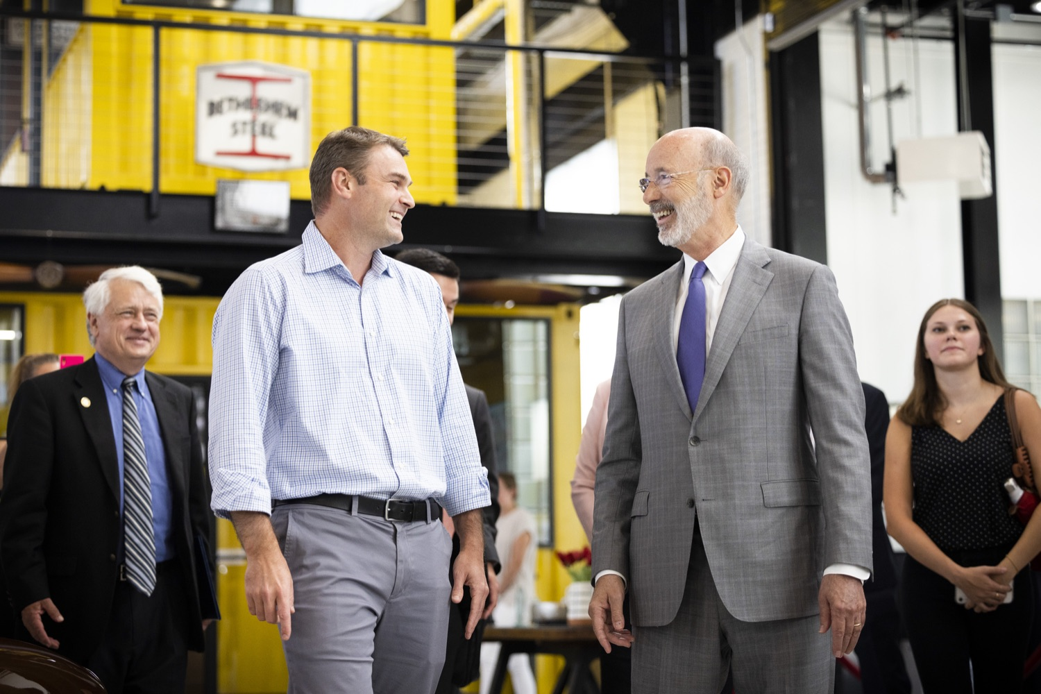 """<a href=""""https://filesource.wostreaming.net/commonwealthofpa/photo/18941_gov_economicDevelopment_dz_008.jpg"""" target=""""_blank"""">⇣Download Photo<br></a>Keith Caldwell, Partner  Factory LLC giving Pennsylvania Governor Tom Wolf a tour of Factory LLC.  Governor Tom Wolf today visited Factory LLC in Bethlehem to tour the facility and highlight the importance of investing in Pennsylvanias start-up companies. During the visit, he met with companies affiliated with Factory, including Stuffed Puffs®, which received a $1 million funding proposal from the commonwealth in 2019 to expand its manufacturing operations and create jobs, Mikeys®, Pipcorn®, Honey Stinger®, and ROAR® Organic. Bethlehem, PA  July 19, 2021"""