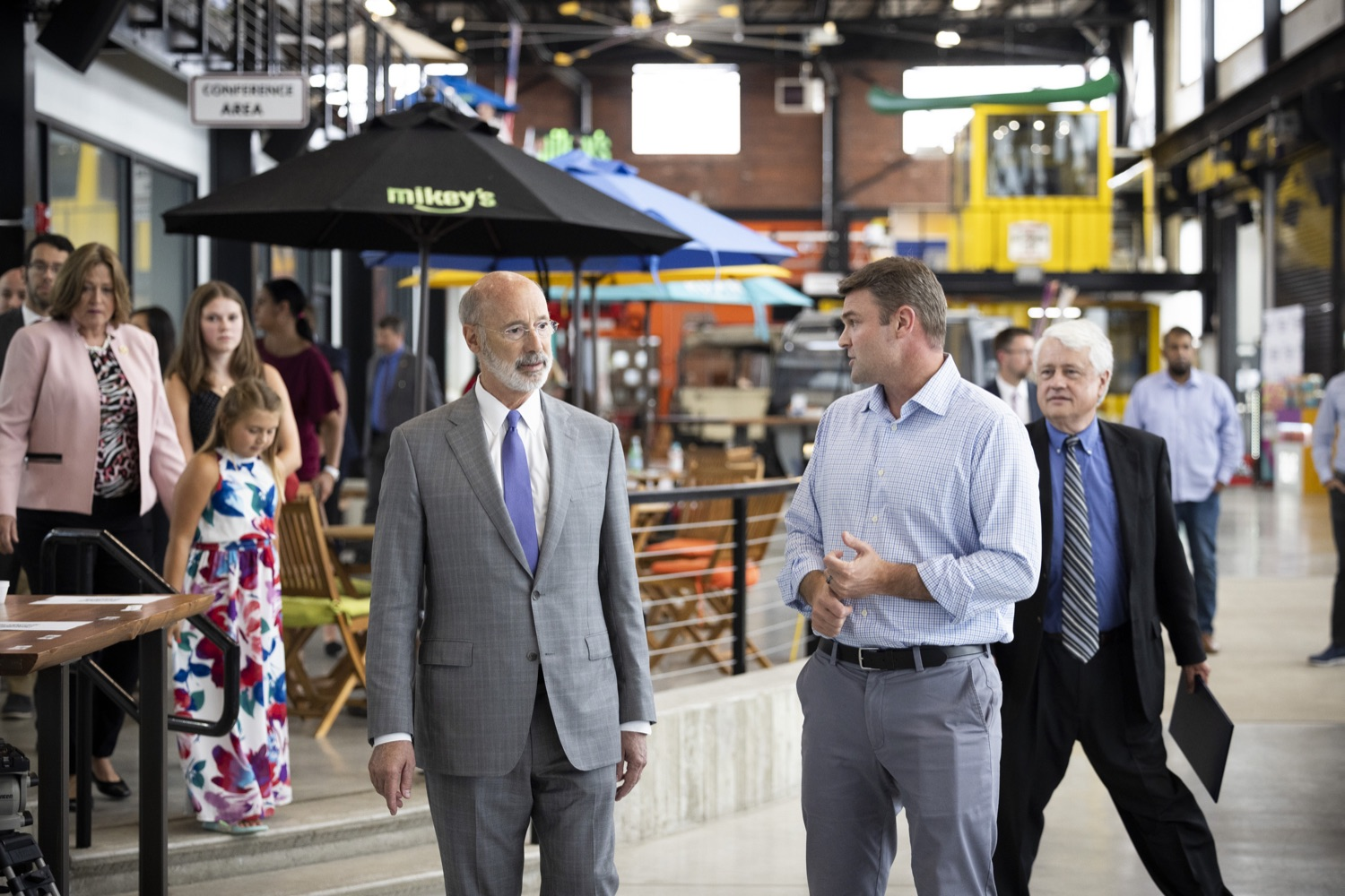 """<a href=""""https://filesource.wostreaming.net/commonwealthofpa/photo/18941_gov_economicDevelopment_dz_011.jpg"""" target=""""_blank"""">⇣Download Photo<br></a>Keith Caldwell, Partner  Factory LLC giving Pennsylvania Governor Tom Wolf a tour of Factory LLC.  Governor Tom Wolf today visited Factory LLC in Bethlehem to tour the facility and highlight the importance of investing in Pennsylvanias start-up companies. During the visit, he met with companies affiliated with Factory, including Stuffed Puffs®, which received a $1 million funding proposal from the commonwealth in 2019 to expand its manufacturing operations and create jobs, Mikeys®, Pipcorn®, Honey Stinger®, and ROAR® Organic. Bethlehem, PA  July 19, 2021"""