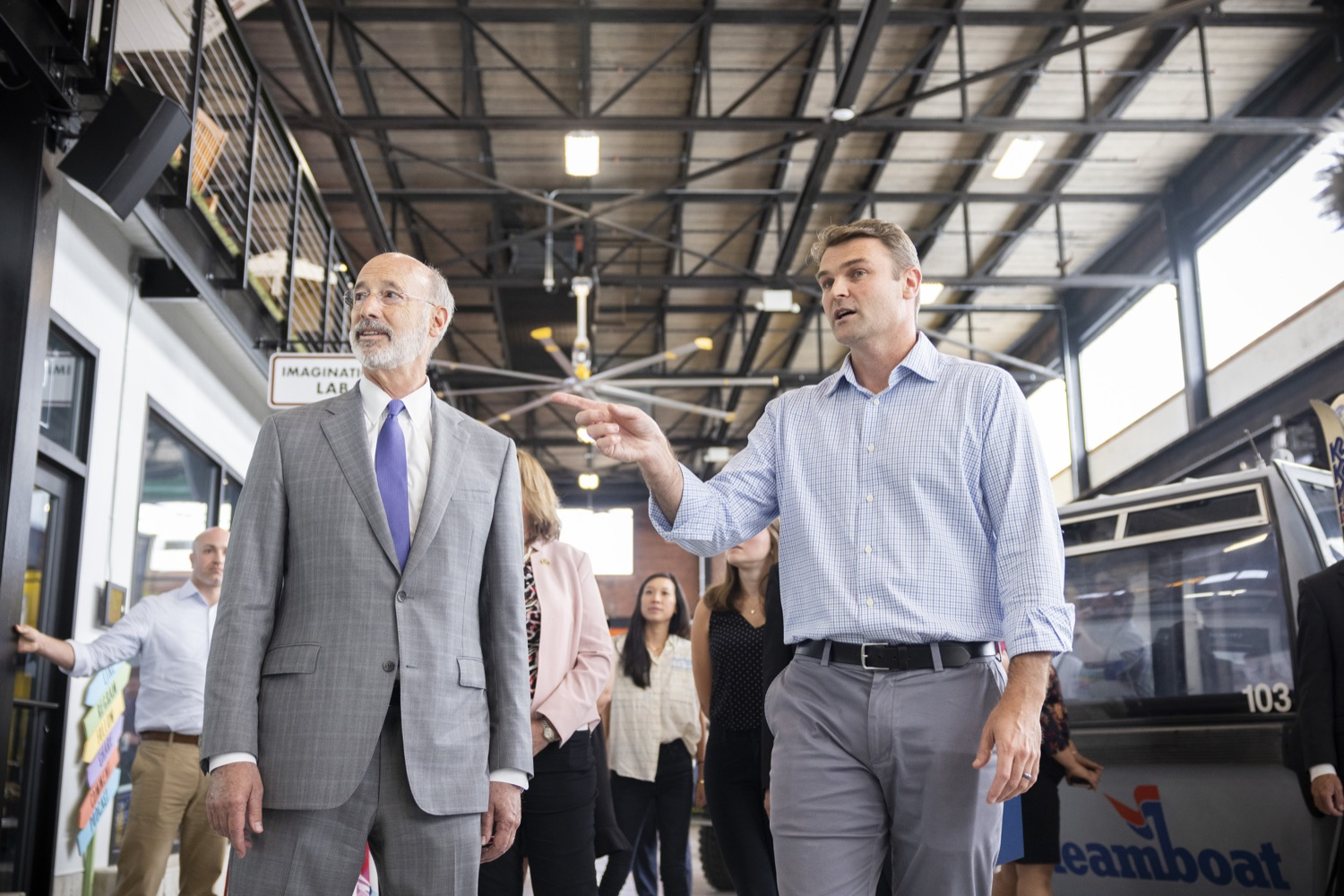 """<a href=""""https://filesource.wostreaming.net/commonwealthofpa/photo/18941_gov_economicDevelopment_dz_016.jpg"""" target=""""_blank"""">⇣Download Photo<br></a>Keith Caldwell, Partner  Factory LLC giving Pennsylvania Governor Tom Wolf a tour of Factory LLC.  Governor Tom Wolf today visited Factory LLC in Bethlehem to tour the facility and highlight the importance of investing in Pennsylvanias start-up companies. During the visit, he met with companies affiliated with Factory, including Stuffed Puffs®, which received a $1 million funding proposal from the commonwealth in 2019 to expand its manufacturing operations and create jobs, Mikeys®, Pipcorn®, Honey Stinger®, and ROAR® Organic. Bethlehem, PA  July 19, 2021"""