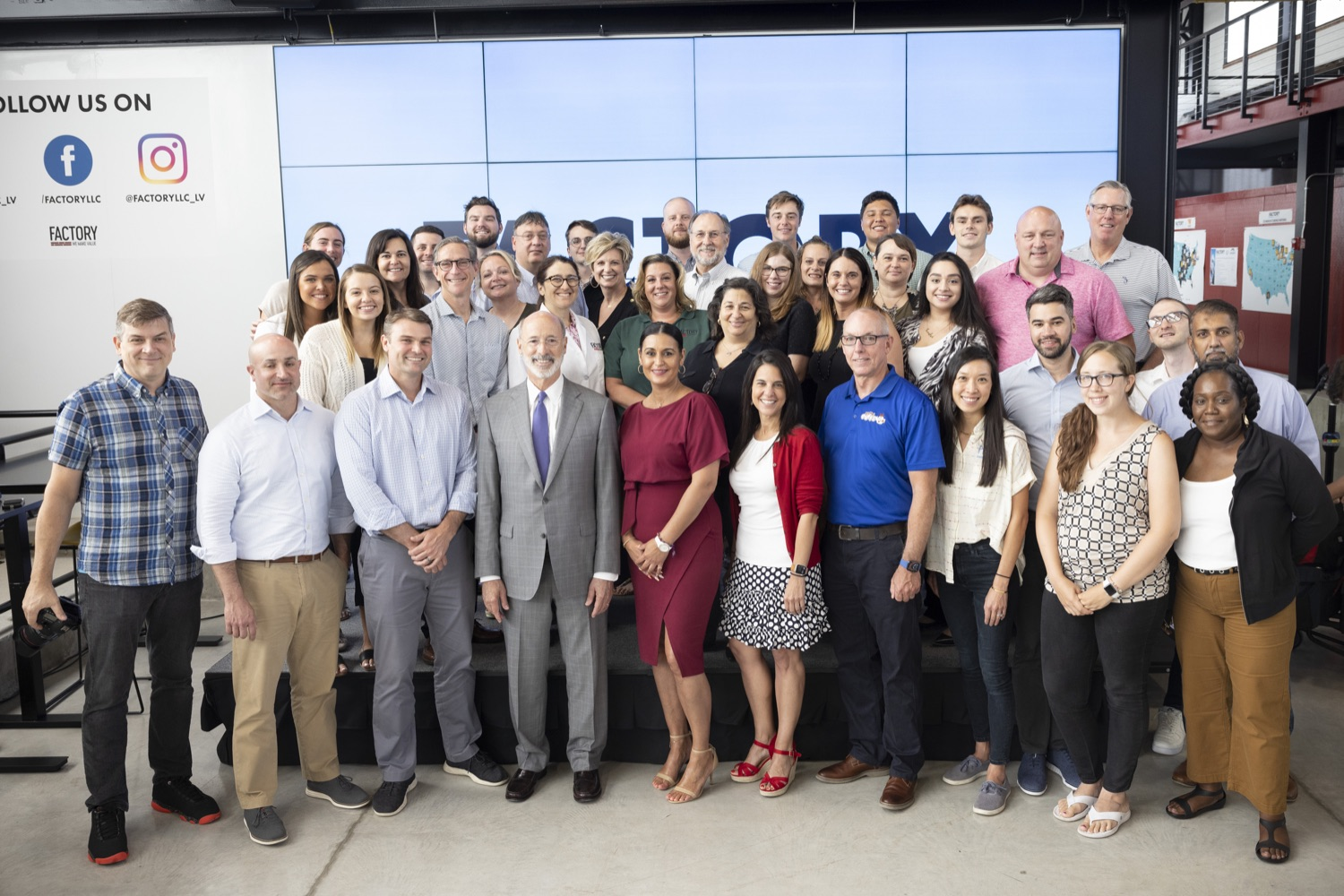 """<a href=""""https://filesource.wostreaming.net/commonwealthofpa/photo/18941_gov_economicDevelopment_dz_020.jpg"""" target=""""_blank"""">⇣Download Photo<br></a>Governor Tom Wolf today visited Factory LLC in Bethlehem to tour the facility and highlight the importance of investing in Pennsylvanias start-up companies. During the visit, he met with companies affiliated with Factory, including Stuffed Puffs®, which received a $1 million funding proposal from the commonwealth in 2019 to expand its manufacturing operations and create jobs, Mikeys®, Pipcorn®, Honey Stinger®, and ROAR® Organic. Bethlehem, PA  July 19, 2021"""