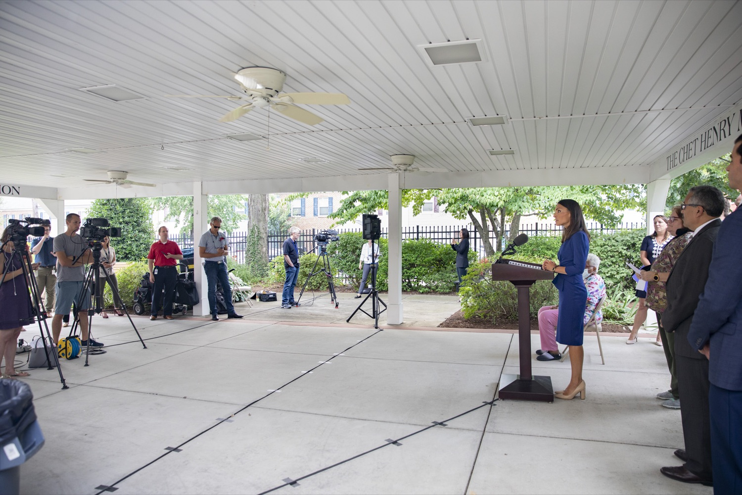 """<a href=""""https://filesource.wostreaming.net/commonwealthofpa/photo/18946_doh_LTCF_cz_02.jpg"""" target=""""_blank"""">⇣Download Photo<br></a>Acting Secretary of Health Alison Beam announces proposed nursing home regulations, focused on increased quality of care for residents and workers, at Homeland Center in Harrisburg, PA on July 21, 2021."""