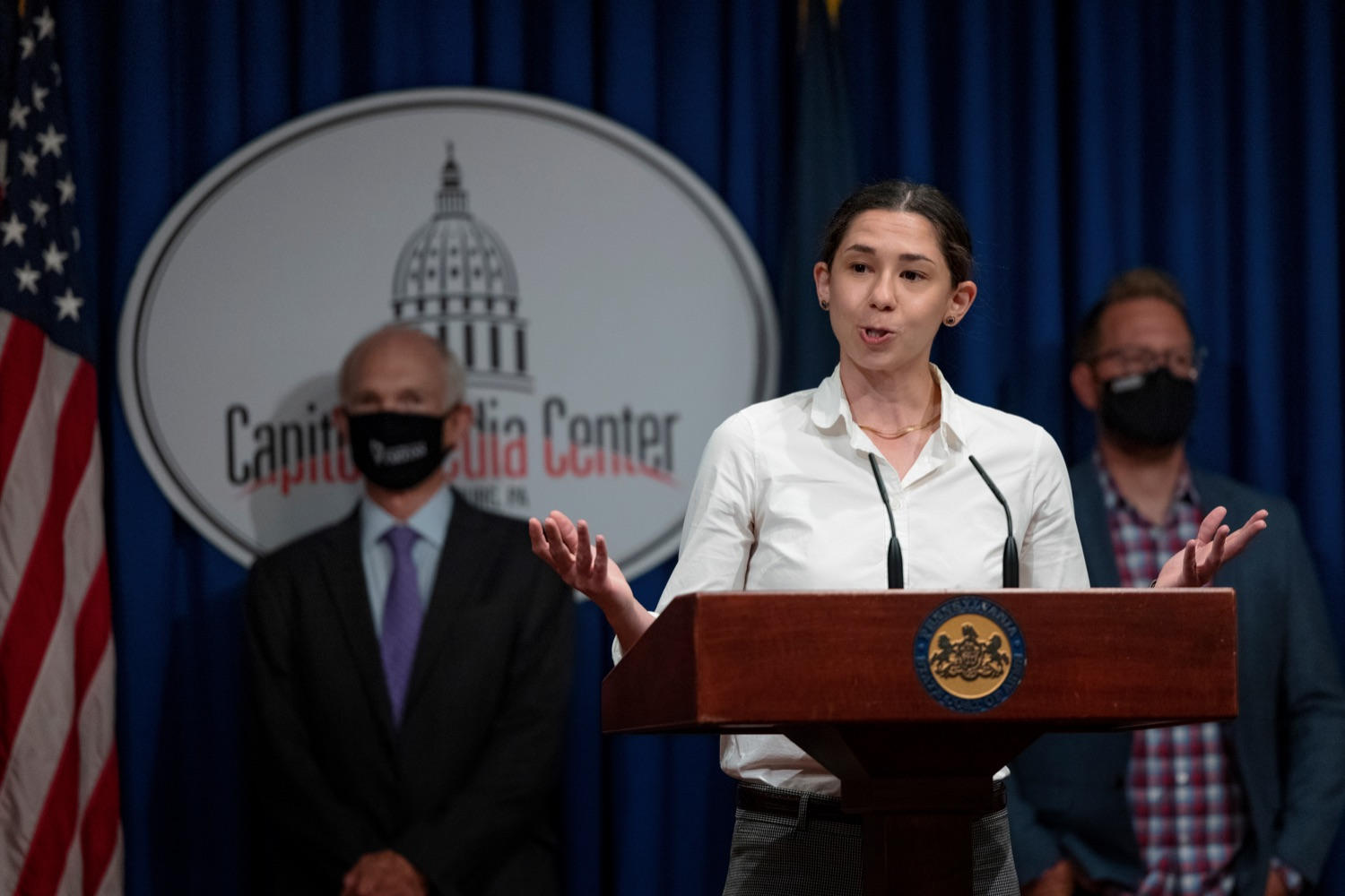 """<a href=""""https://filesource.wostreaming.net/commonwealthofpa/photo/19003_DCED_InnovationReport_NK_003.jpg"""" target=""""_blank"""">⇣Download Photo<br></a>Grace Klein, a student at Carnegie Mellon University (CMU), speaks during a press conference, which shared findings from a report created by a student team at CMU on Pennsylvanias Innovation Economy and announce the creation of a new Innovation Economy Dashboard, which will help inform policymaking decisions based on reliable data, inside the Capitol Media Center on Wednesday, August 11, 2021."""