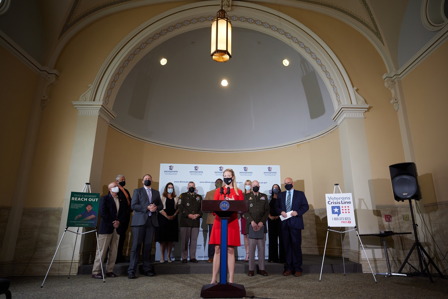 """<a href=""""https://filesource.wostreaming.net/commonwealthofpa/photo/19088_dmva_suicidePrevention_dz_003.jpg"""" target=""""_blank"""">⇣Download Photo<br></a>Mary Quinn, President and CEO, YWCA, speaks to the press.Members of the Wolf administration gathered today at the YWCA Greater  Harrisburg to raise awareness about veteran suicide, a health crisis taking the lives of about 20  veterans a day nationwide. The event was held in recognition of September being National Suicide Prevention Month.  Harrisburg, PA   Sept. 9, 2021.."""