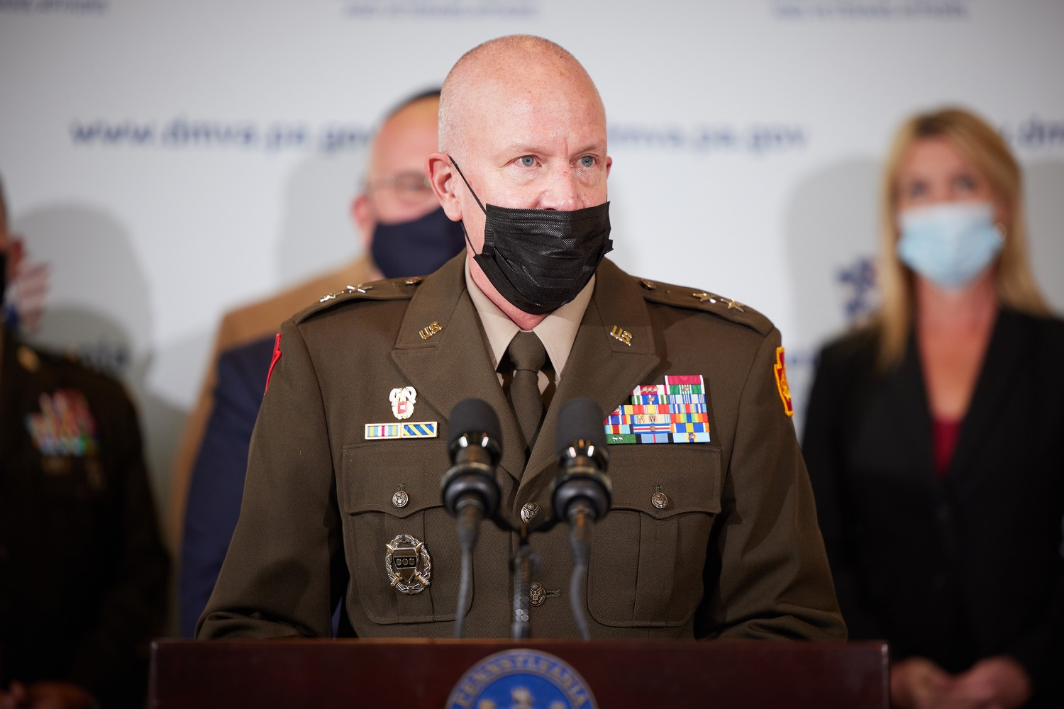 """<a href=""""https://filesource.wostreaming.net/commonwealthofpa/photo/19088_dmva_suicidePrevention_dz_006.jpg"""" target=""""_blank"""">⇣Download Photo<br></a>Adjutant General of Pennsylvania Major General Mark J. Schindler speaks to the press.  Members of the Wolf administration gathered today at the YWCA Greater  Harrisburg to raise awareness about veteran suicide, a health crisis taking the lives of about 20  veterans a day nationwide. The event was held in recognition of September being National Suicide Prevention Month.  Harrisburg, PA   Sept. 9, 2021.."""