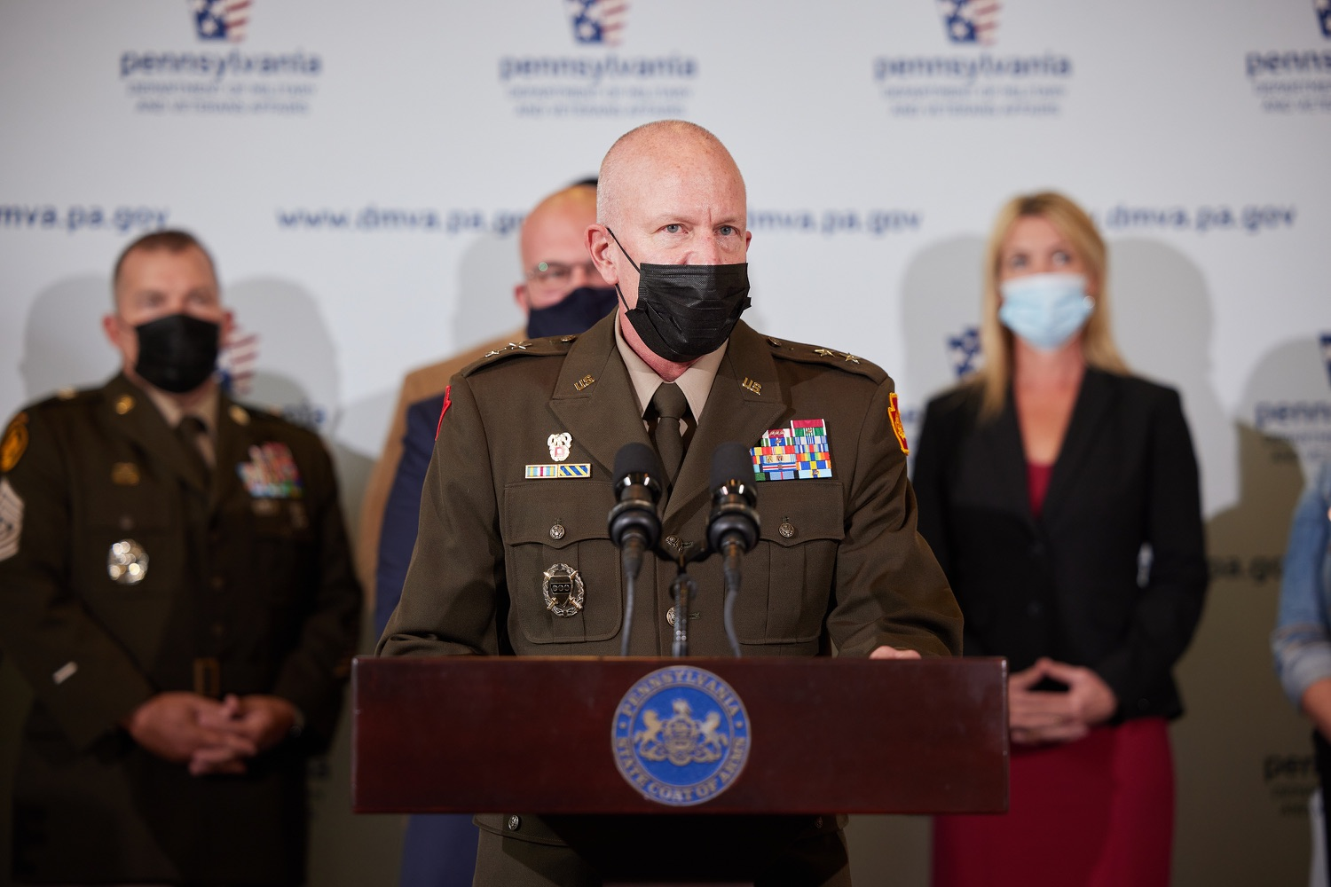 """<a href=""""https://filesource.wostreaming.net/commonwealthofpa/photo/19088_dmva_suicidePrevention_dz_016.jpg"""" target=""""_blank"""">⇣Download Photo<br></a>Adjutant General of Pennsylvania Major General Mark J. Schindler speaks to the press.  Members of the Wolf administration gathered today at the YWCA Greater  Harrisburg to raise awareness about veteran suicide, a health crisis taking the lives of about 20  veterans a day nationwide. The event was held in recognition of September being National Suicide Prevention Month.  Harrisburg, PA   Sept. 9, 2021.."""