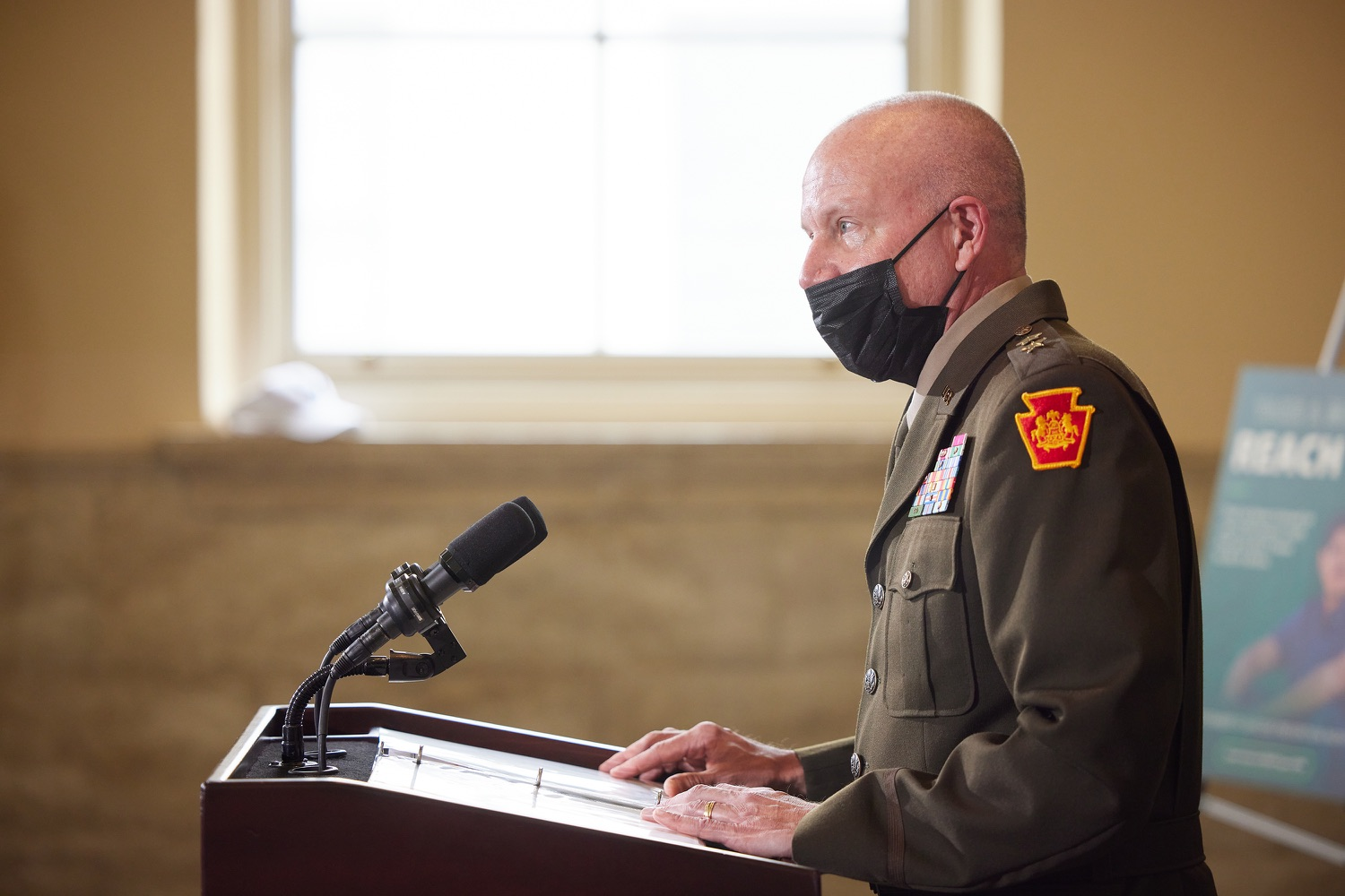 """<a href=""""https://filesource.wostreaming.net/commonwealthofpa/photo/19088_dmva_suicidePrevention_dz_017.jpg"""" target=""""_blank"""">⇣Download Photo<br></a>Adjutant General of Pennsylvania Major General Mark J. Schindler speaks to the press.  Members of the Wolf administration gathered today at the YWCA Greater  Harrisburg to raise awareness about veteran suicide, a health crisis taking the lives of about 20  veterans a day nationwide. The event was held in recognition of September being National Suicide Prevention Month.  Harrisburg, PA   Sept. 9, 2021.."""