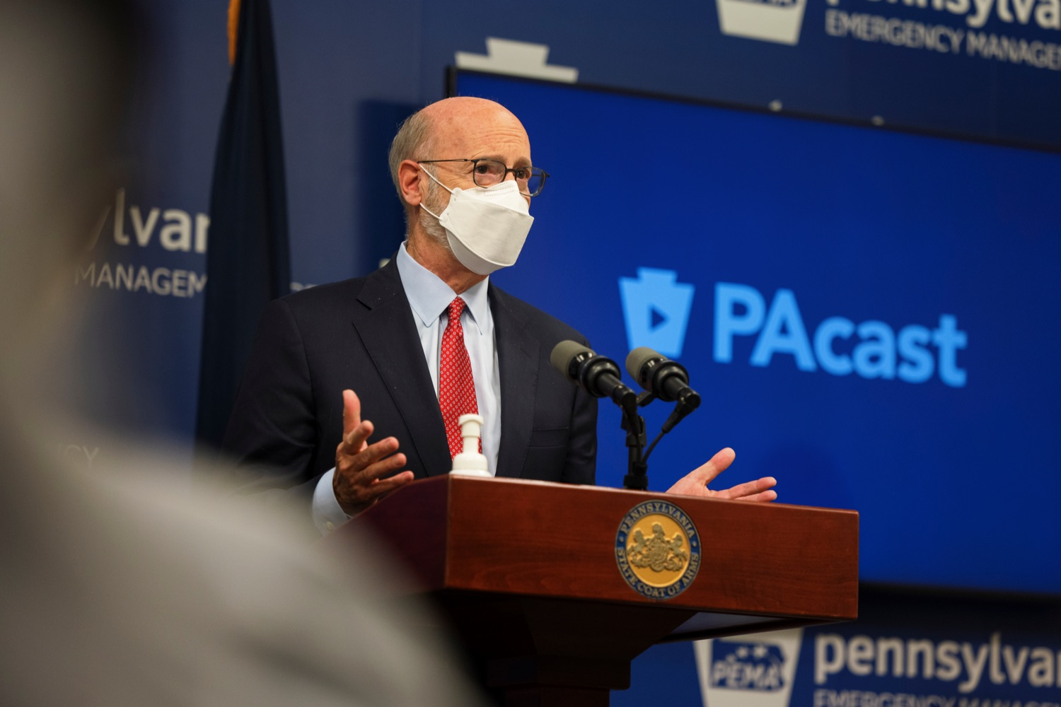 """<a href=""""https://filesource.wostreaming.net/commonwealthofpa/photo/19089_GOV_School_Masking_NK_003.jpg"""" target=""""_blank"""">⇣Download Photo<br></a>Governor Tom Wolf speaks during a press conference, which discussed the current state of COVID-19 and a new Secretary of Health order requiring masks to be worn inside K-12 school buildings, early learning programs and child care providers, inside Pennsylvania Emergency Management Agency in Harrisburg on Tuesday, August 31, 2021."""