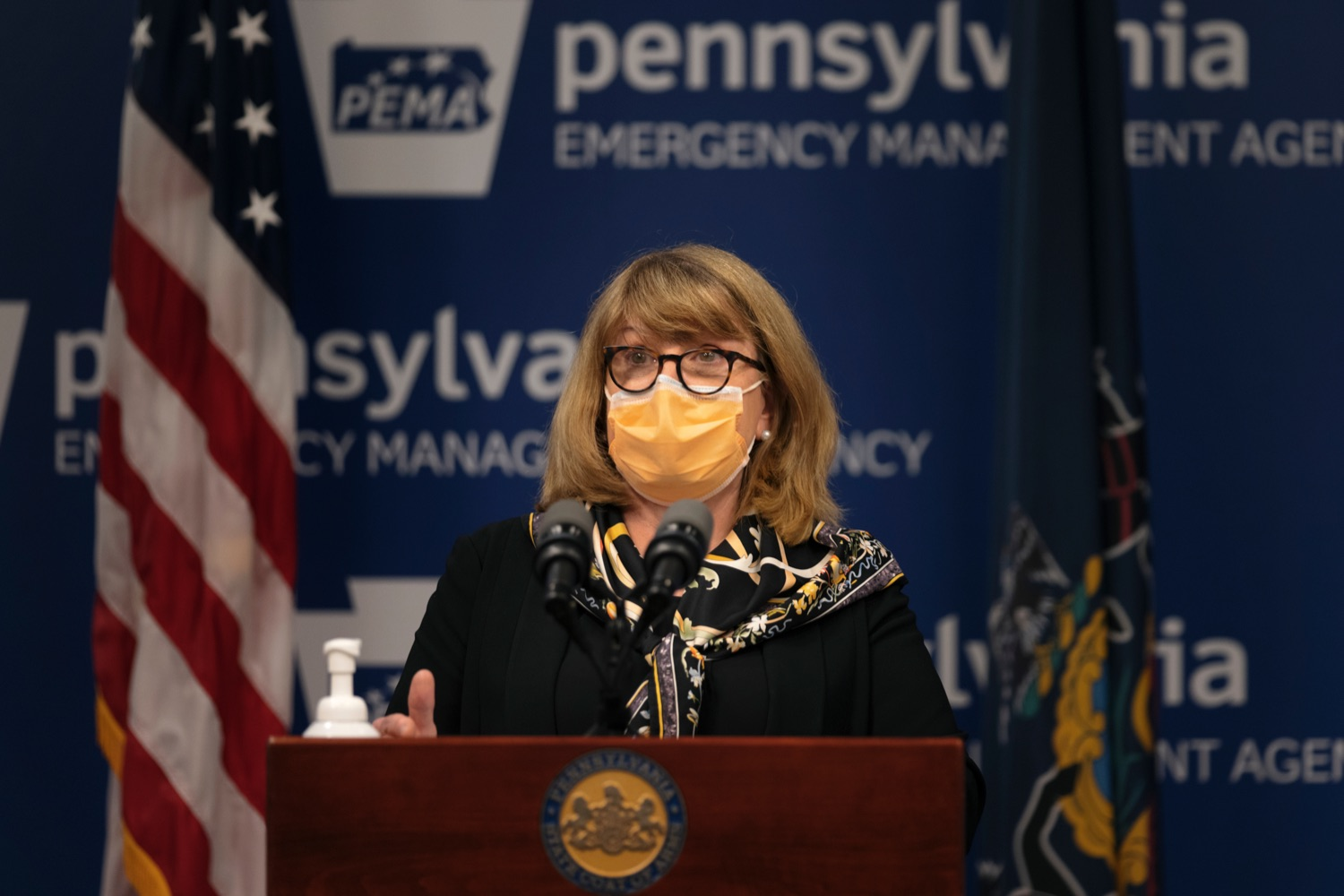 """<a href=""""https://filesource.wostreaming.net/commonwealthofpa/photo/19089_GOV_School_Masking_NK_004.jpg"""" target=""""_blank"""">⇣Download Photo<br></a>President of the Pennsylvania Chapter of the American Academy of Pediatrics Dr. Trude Haecker speaks during a press conference, which discussed the current state of COVID-19 and a new Secretary of Health order requiring masks to be worn inside K-12 school buildings, early learning programs and child care providers, inside Pennsylvania Emergency Management Agency in Harrisburg on Tuesday, August 31, 2021."""