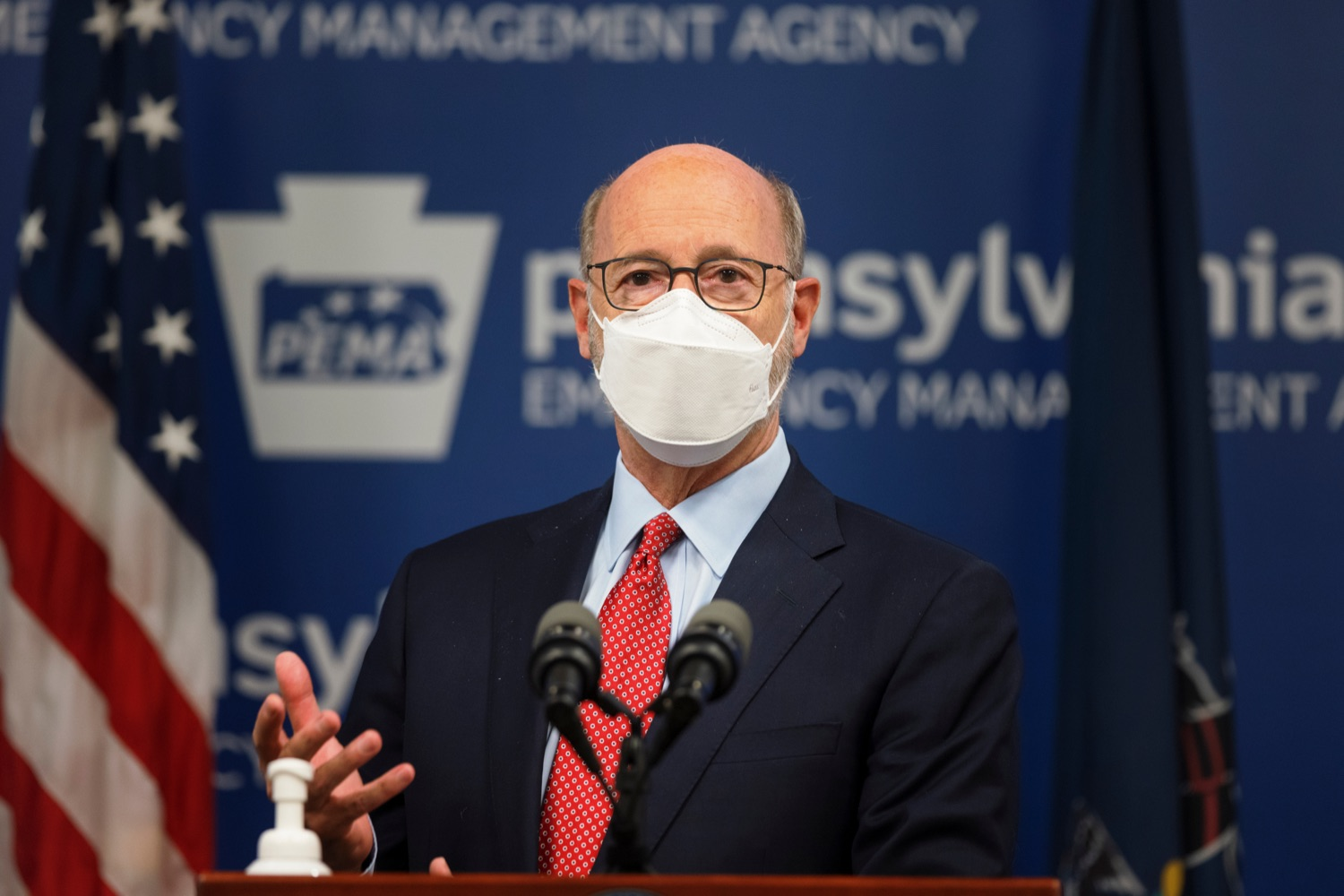 """<a href=""""https://filesource.wostreaming.net/commonwealthofpa/photo/19089_GOV_School_Masking_NK_011.jpg"""" target=""""_blank"""">⇣Download Photo<br></a>Governor Tom Wolf speaks during a press conference, which discussed the current state of COVID-19 and a new Secretary of Health order requiring masks to be worn inside K-12 school buildings, early learning programs and child care providers, inside Pennsylvania Emergency Management Agency in Harrisburg on Tuesday, August 31, 2021."""