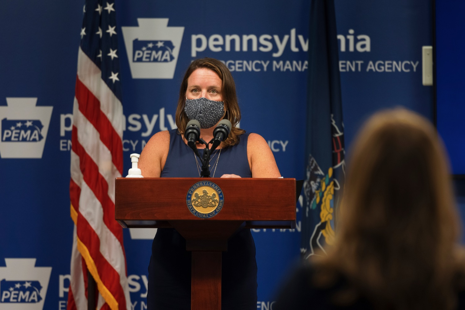 """<a href=""""https://filesource.wostreaming.net/commonwealthofpa/photo/19089_GOV_School_Masking_NK_012.jpg"""" target=""""_blank"""">⇣Download Photo<br></a>Human Services Acting Secretary Meg Snead speaks during a press conference, which discussed the current state of COVID-19 and a new Secretary of Health order requiring masks to be worn inside K-12 school buildings, early learning programs and child care providers, inside Pennsylvania Emergency Management Agency in Harrisburg on Tuesday, August 31, 2021."""