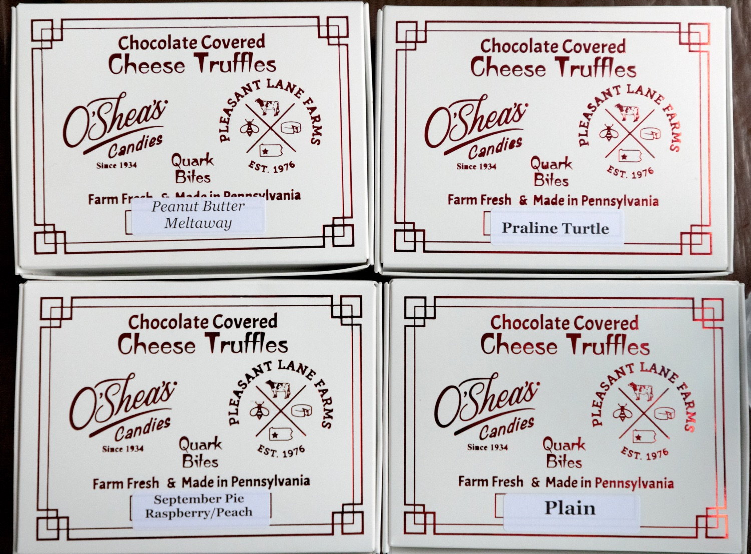 """<a href=""""https://filesource.wostreaming.net/commonwealthofpa/photo/19097_AG_DairyInnovation_NK_017.jpg"""" target=""""_blank"""">⇣Download Photo<br></a>Pleasant Lane Farms chocolate covered cheese truffles are pictured in Latrobe on Thursday, September 9, 2021. In 2019, Pleasant Lane Farms reconstructed their operation and on-farm business plan to safeguard the farms future for the next generation. The Frye family constructed a new barn equipped with a robotic milker, atmospheric climate control to regulate barn temperature and cow brushes to promote cow comfort. The barn directly supplies the on-farm cheese processing facility, which received a $364,082 Pennsylvania Dairy Investment Program grant to support marketing and value-added processing equipment investments. Today, the creamery at Pleasant Lane Farms processes 15,000 to 25,000 pounds of milk and produces more 1,700 to 2,900 pounds of cheese each week."""