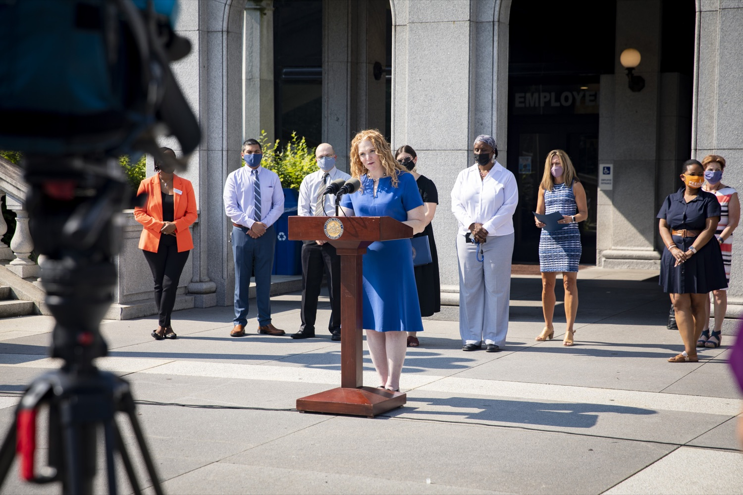 """<a href=""""https://filesource.wostreaming.net/commonwealthofpa/photo/19104_dhs_hungerAction_cz_05.JPG"""" target=""""_blank"""">⇣Download Photo<br></a>Caryn Long Earl, Director of the Bureau of Food Distribution at the Department of Agriculture, recognizes Hunger Action Month and encourages continued support for Pennsylvanias charitable food network, in Harrisburg, PA on September 15, 2021."""