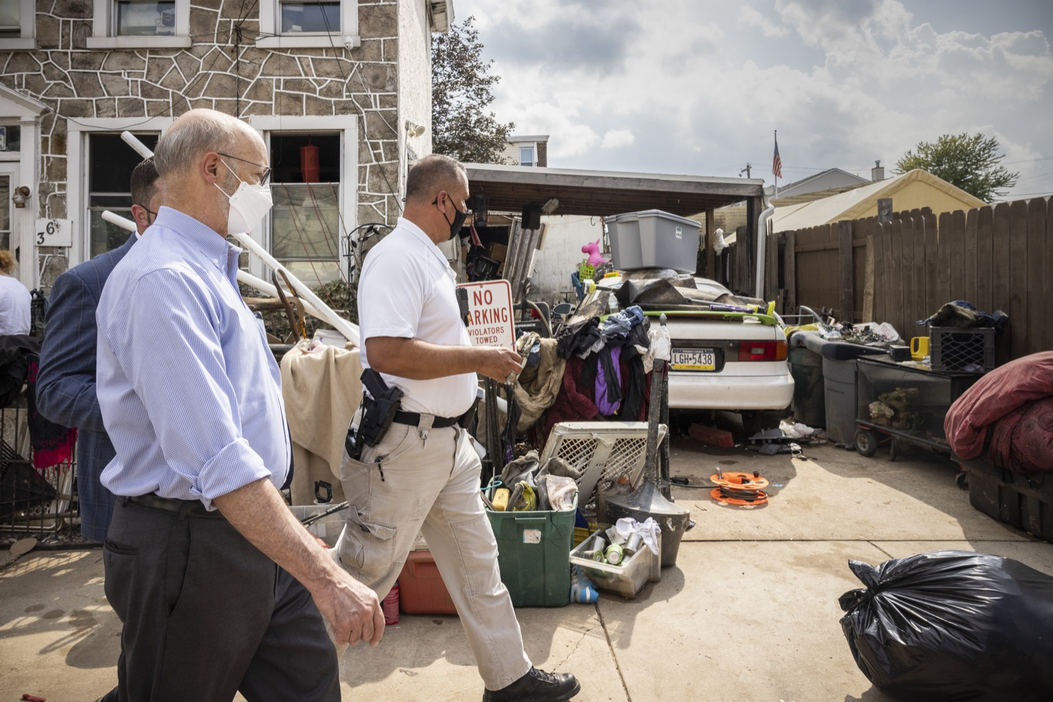 """<a href=""""https://filesource.wostreaming.net/commonwealthofpa/photo/19109_gov_stormDamage_dz_002.jpg"""" target=""""_blank"""">⇣Download Photo<br></a>Pennsylvania Governor Tom Wolf touring storm damage with Chief Todd J. Bereda,  Chief of Police, Emergency Management Coordinator Bridgeport PA.   , Governor Wolf visited the Borough of Bridgeport to tour some of the areas affected by the remnants of Ida. The governor, joined by local officials, viewed and discussed the impact to damaged areas, including businesses, homes and infrastructure. Bridgeport, PA - September 08, 2021"""
