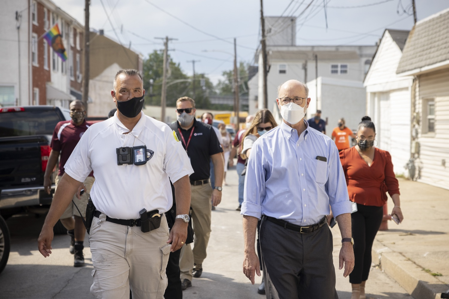 """<a href=""""https://filesource.wostreaming.net/commonwealthofpa/photo/19109_gov_stormDamage_dz_004.jpg"""" target=""""_blank"""">⇣Download Photo<br></a>Pennsylvania Governor Tom Wolf touring storm damage with Chief Todd J. Bereda,  Chief of Police, Emergency Management Coordinator Bridgeport PA.   , Governor Wolf visited the Borough of Bridgeport to tour some of the areas affected by the remnants of Ida. The governor, joined by local officials, viewed and discussed the impact to damaged areas, including businesses, homes and infrastructure. Bridgeport, PA - September 08, 2021"""