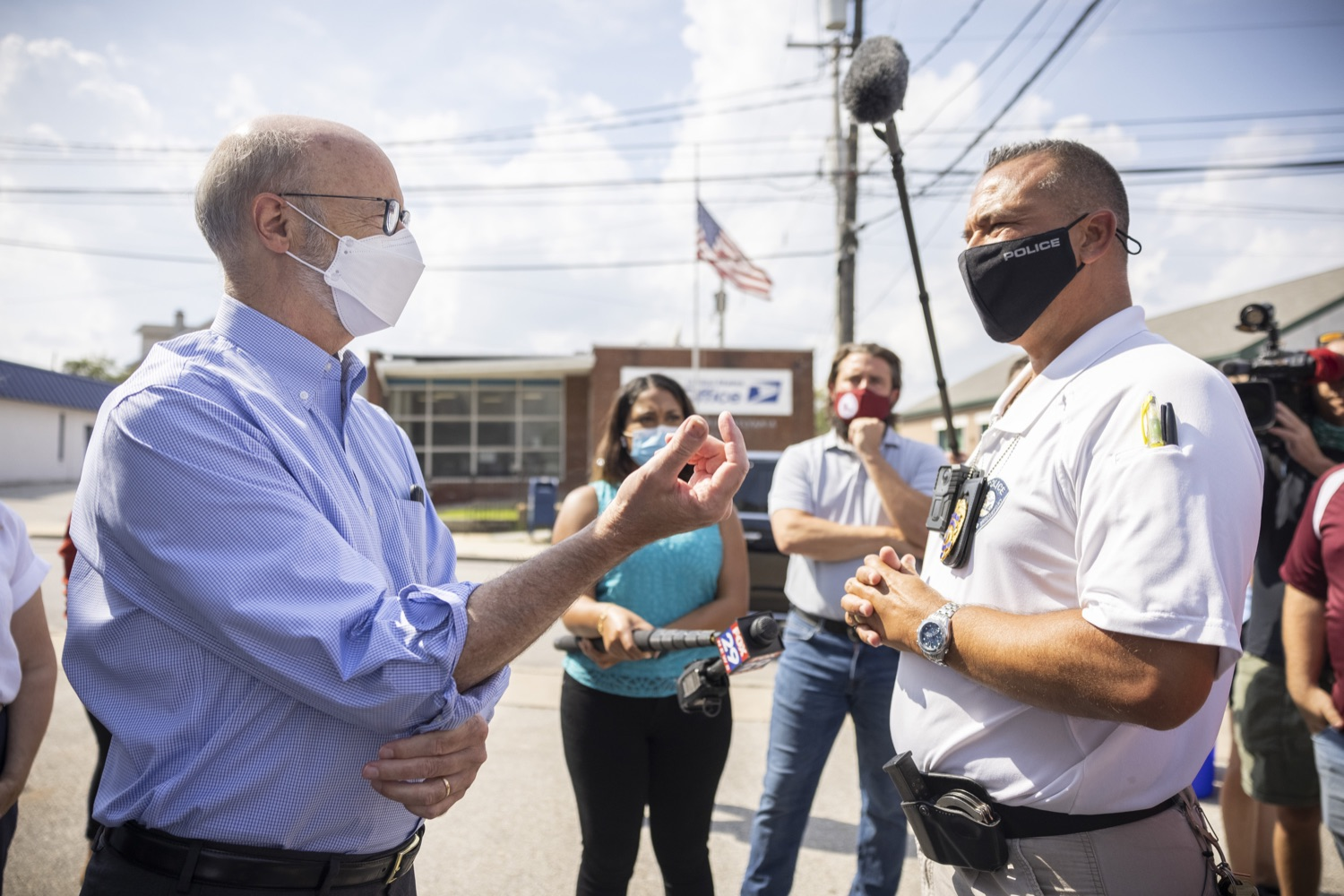 """<a href=""""https://filesource.wostreaming.net/commonwealthofpa/photo/19109_gov_stormDamage_dz_005.jpg"""" target=""""_blank"""">⇣Download Photo<br></a>Pennsylvania Governor Tom Wolf touring storm damage with Chief Todd J. Bereda,  Chief of Police, Emergency Management Coordinator Bridgeport PA.   , Governor Wolf visited the Borough of Bridgeport to tour some of the areas affected by the remnants of Ida. The governor, joined by local officials, viewed and discussed the impact to damaged areas, including businesses, homes and infrastructure. Bridgeport, PA - September 08, 2021"""