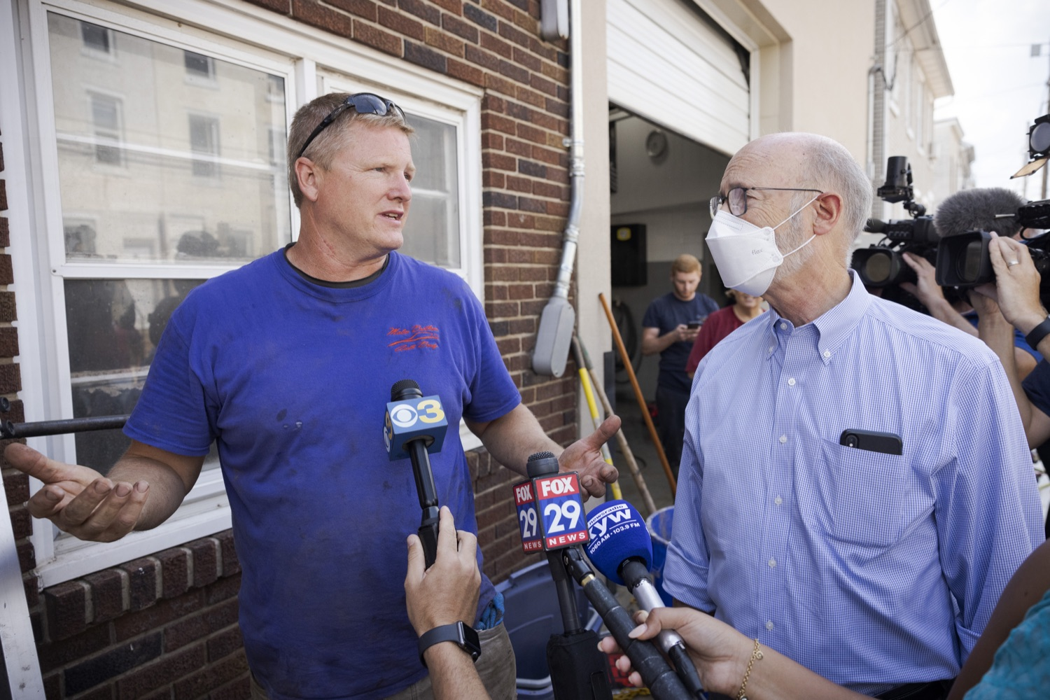 """<a href=""""https://filesource.wostreaming.net/commonwealthofpa/photo/19109_gov_stormDamage_dz_014.jpg"""" target=""""_blank"""">⇣Download Photo<br></a>Resident and business owner Brian Matus showing storm damage to Pennsylvania Governor Tom Wolf.   Governor Wolf visited the Borough of Bridgeport to tour some of the areas affected by the remnants of Ida. The governor, joined by local officials, viewed and discussed the impact to damaged areas, including businesses, homes and infrastructure. Bridgeport, PA - September 08, 2021"""