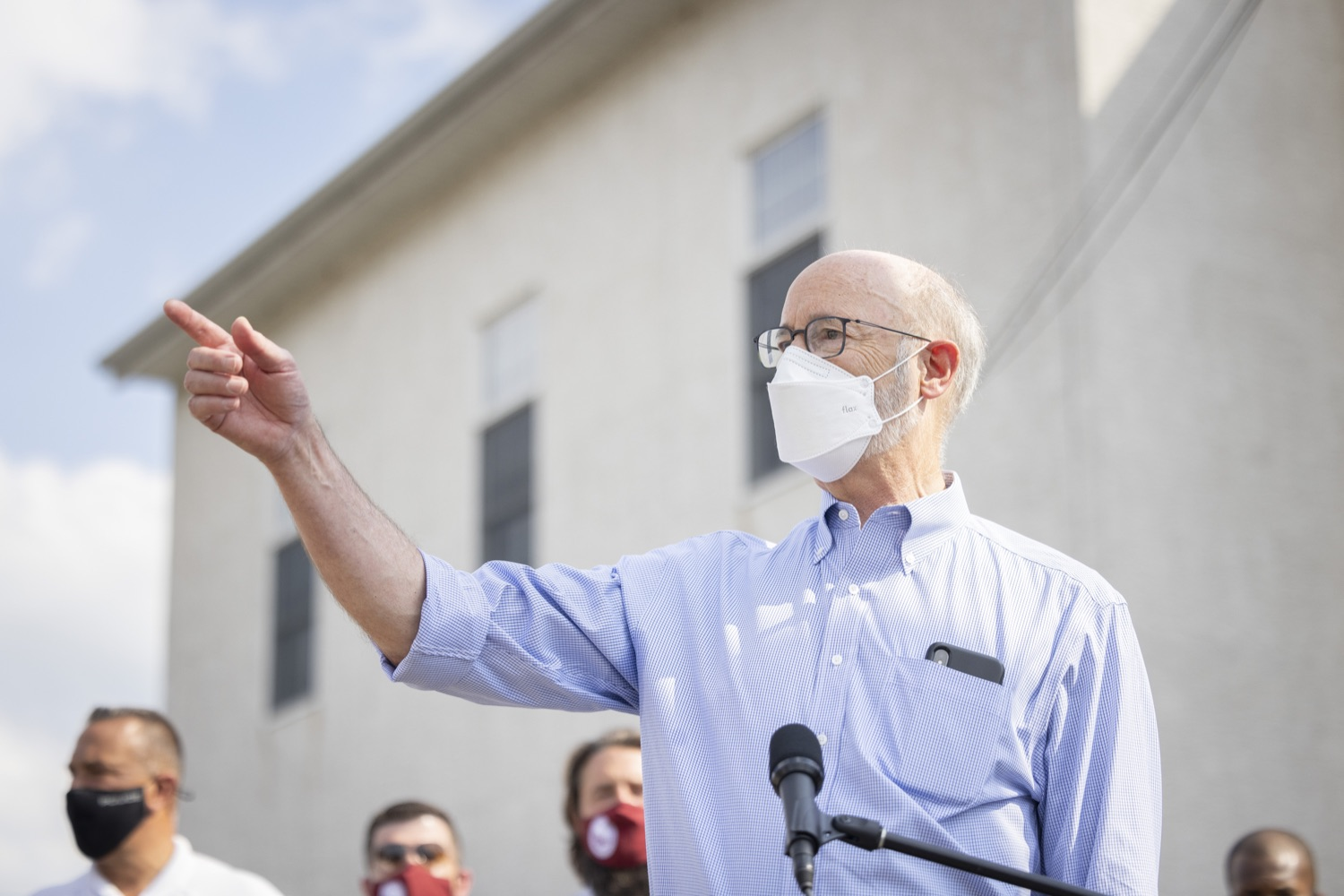 """<a href=""""https://filesource.wostreaming.net/commonwealthofpa/photo/19109_gov_stormDamage_dz_016.jpg"""" target=""""_blank"""">⇣Download Photo<br></a>Pennsylvania Governor Tom Wolf speaking with the press.   Governor Wolf visited the Borough of Bridgeport to tour some of the areas affected by the remnants of Ida. The governor, joined by local officials, viewed and discussed the impact to damaged areas, including businesses, homes and infrastructure. Bridgeport, PA - September 08, 2021"""