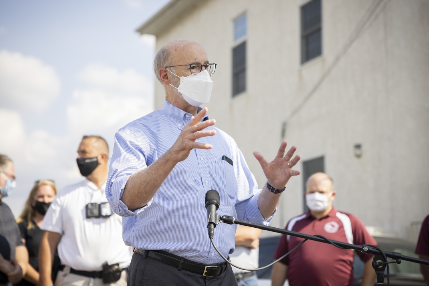 """<a href=""""https://filesource.wostreaming.net/commonwealthofpa/photo/19109_gov_stormDamage_dz_019.jpg"""" target=""""_blank"""">⇣Download Photo<br></a>Pennsylvania Governor Tom Wolf speaking with the press.   Governor Wolf visited the Borough of Bridgeport to tour some of the areas affected by the remnants of Ida. The governor, joined by local officials, viewed and discussed the impact to damaged areas, including businesses, homes and infrastructure. Bridgeport, PA - September 08, 2021"""