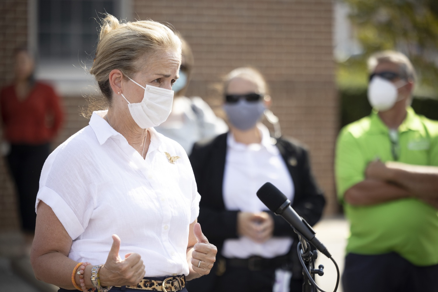"""<a href=""""https://filesource.wostreaming.net/commonwealthofpa/photo/19109_gov_stormDamage_dz_020.jpg"""" target=""""_blank"""">⇣Download Photo<br></a>Congresswoman Madeleine Dean speaking with the press.   Governor Wolf visited the Borough of Bridgeport to tour some of the areas affected by the remnants of Ida. The governor, joined by local officials, viewed and discussed the impact to damaged areas, including businesses, homes and infrastructure. Bridgeport, PA - September 08, 2021"""