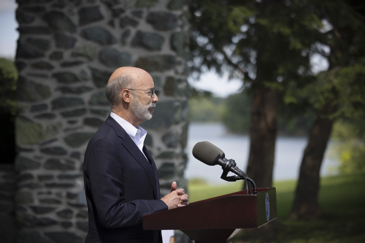 """<a href=""""https://filesource.wostreaming.net/commonwealthofpa/photo/19111_gov_parkVaccines_dz_007.jpg"""" target=""""_blank"""">⇣Download Photo<br></a>Pennsylvania Governor Tom Wolf speaking with the press.  Governor Tom Wolf today announced that the Department of Health (DOH) and Department of Conservation and Natural Resources (DCNR) are partnering to hold COVID-19 vaccine clinics at five state parks across the commonwealth to help expand access to the COVID-19 vaccine.  Harrisburg, PA -- September 10, 2021"""