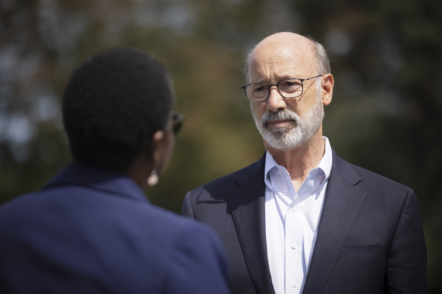 """<a href=""""https://filesource.wostreaming.net/commonwealthofpa/photo/19111_gov_parkVaccines_dz_011.jpg"""" target=""""_blank"""">⇣Download Photo<br></a>Pennsylvania Governor Tom Wolf speaking with Acting Physician General Dr. Denise Johnson. Governor Tom Wolf today announced that the Department of Health (DOH) and Department of Conservation and Natural Resources (DCNR) are partnering to hold COVID-19 vaccine clinics at five state parks across the commonwealth to help expand access to the COVID-19 vaccine.  Harrisburg, PA -- September 10, 2021"""
