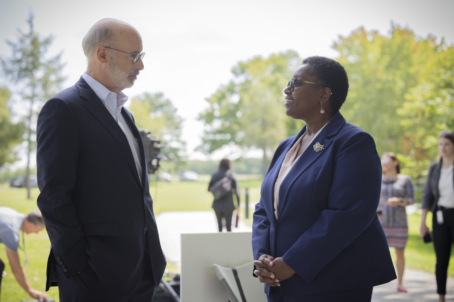 """<a href=""""https://filesource.wostreaming.net/commonwealthofpa/photo/19111_gov_parkVaccines_dz_015.jpg"""" target=""""_blank"""">⇣Download Photo<br></a>Pennsylvania Governor Tom Wolf speaking with Acting Physician General Dr. Denise Johnson. Governor Tom Wolf today announced that the Department of Health (DOH) and Department of Conservation and Natural Resources (DCNR) are partnering to hold COVID-19 vaccine clinics at five state parks across the commonwealth to help expand access to the COVID-19 vaccine.  Harrisburg, PA -- September 10, 2021"""