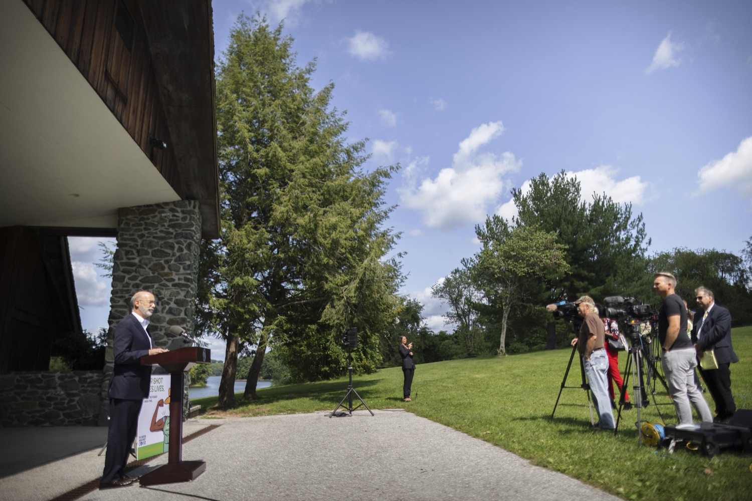 """<a href=""""https://filesource.wostreaming.net/commonwealthofpa/photo/19111_gov_parkVaccines_dz_017.jpg"""" target=""""_blank"""">⇣Download Photo<br></a>Pennsylvania Governor Tom Wolf speaking with the press.  Governor Tom Wolf today announced that the Department of Health (DOH) and Department of Conservation and Natural Resources (DCNR) are partnering to hold COVID-19 vaccine clinics at five state parks across the commonwealth to help expand access to the COVID-19 vaccine.  Harrisburg, PA -- September 10, 2021"""