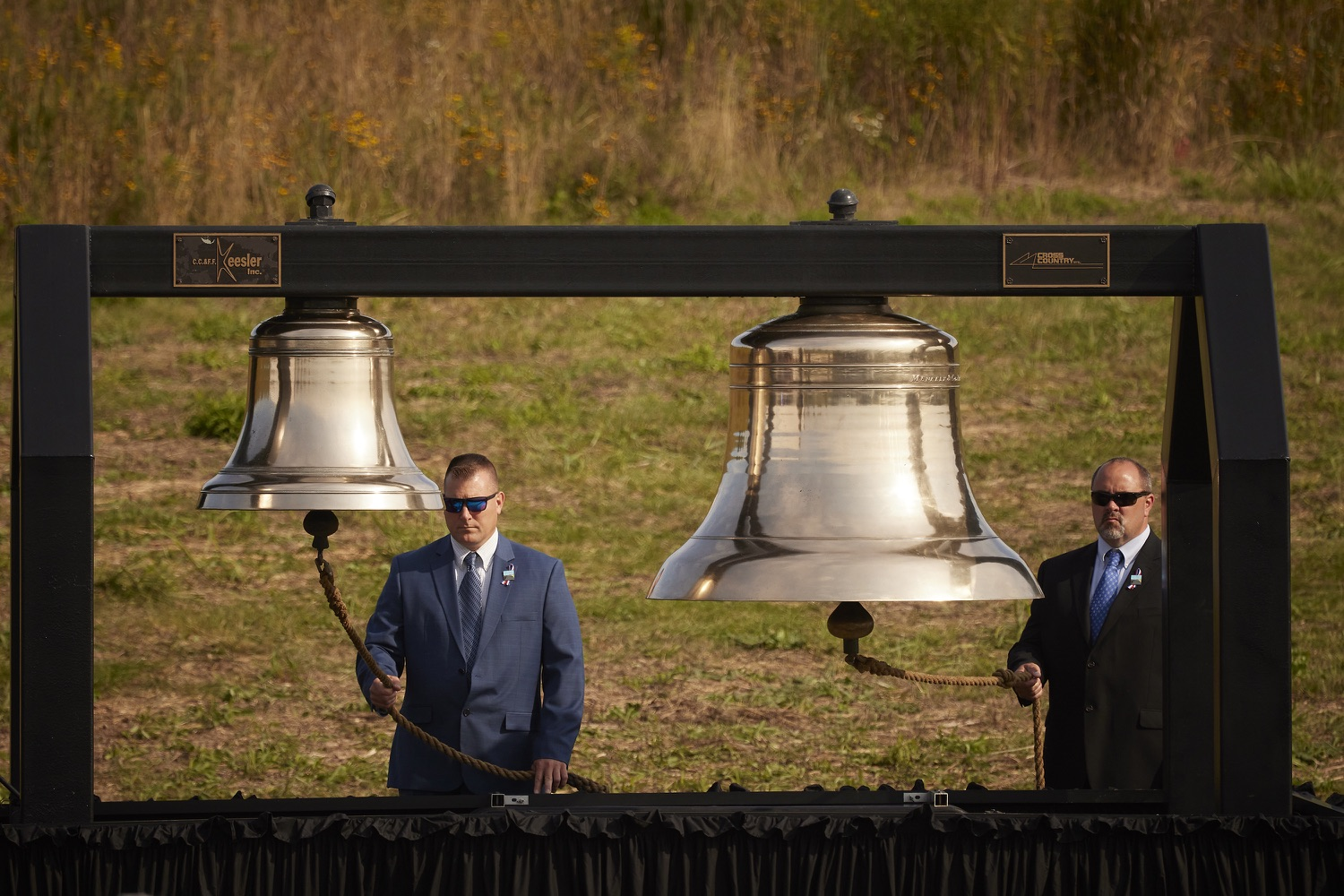 """<a href=""""https://filesource.wostreaming.net/commonwealthofpa/photo/19117_gov_Flight_93_Memorial_dz_007_copy.jpg"""" target=""""_blank"""">⇣Download Photo<br></a>The ringing of the ceremonial bells.  Today, Governor Tom Wolf visited the Flight 93 National Memorial for the 20th annual September 11 observance. Gov. Wolf joined families and guests to honor the passengers and crew of Flight 93. Flight 93 National Memorial, Shanksville, PA - September 11, 2021"""