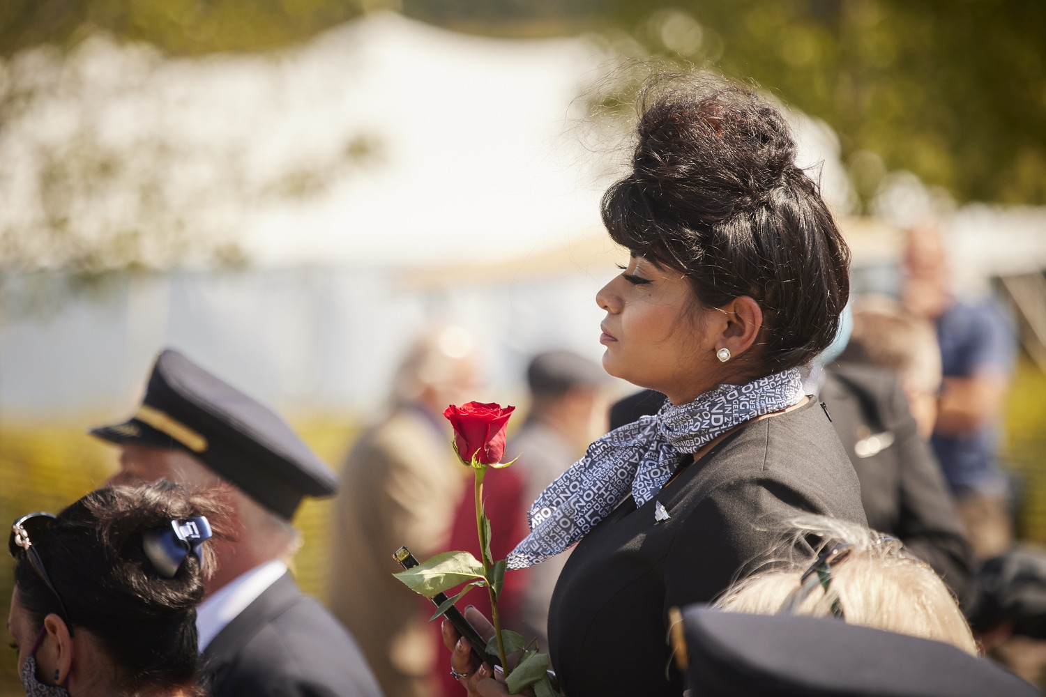 """<a href=""""https://filesource.wostreaming.net/commonwealthofpa/photo/19117_gov_Flight_93_Memorial_dz_011_copy.jpg"""" target=""""_blank"""">⇣Download Photo<br></a>Flight attendants attend a ceremony after the event.  Today, Governor Tom Wolf visited the Flight 93 National Memorial for the 20th annual September 11 observance. Gov. Wolf joined families and guests to honor the passengers and crew of Flight 93. Flight 93 National Memorial, Shanksville, PA - September 11, 2021"""