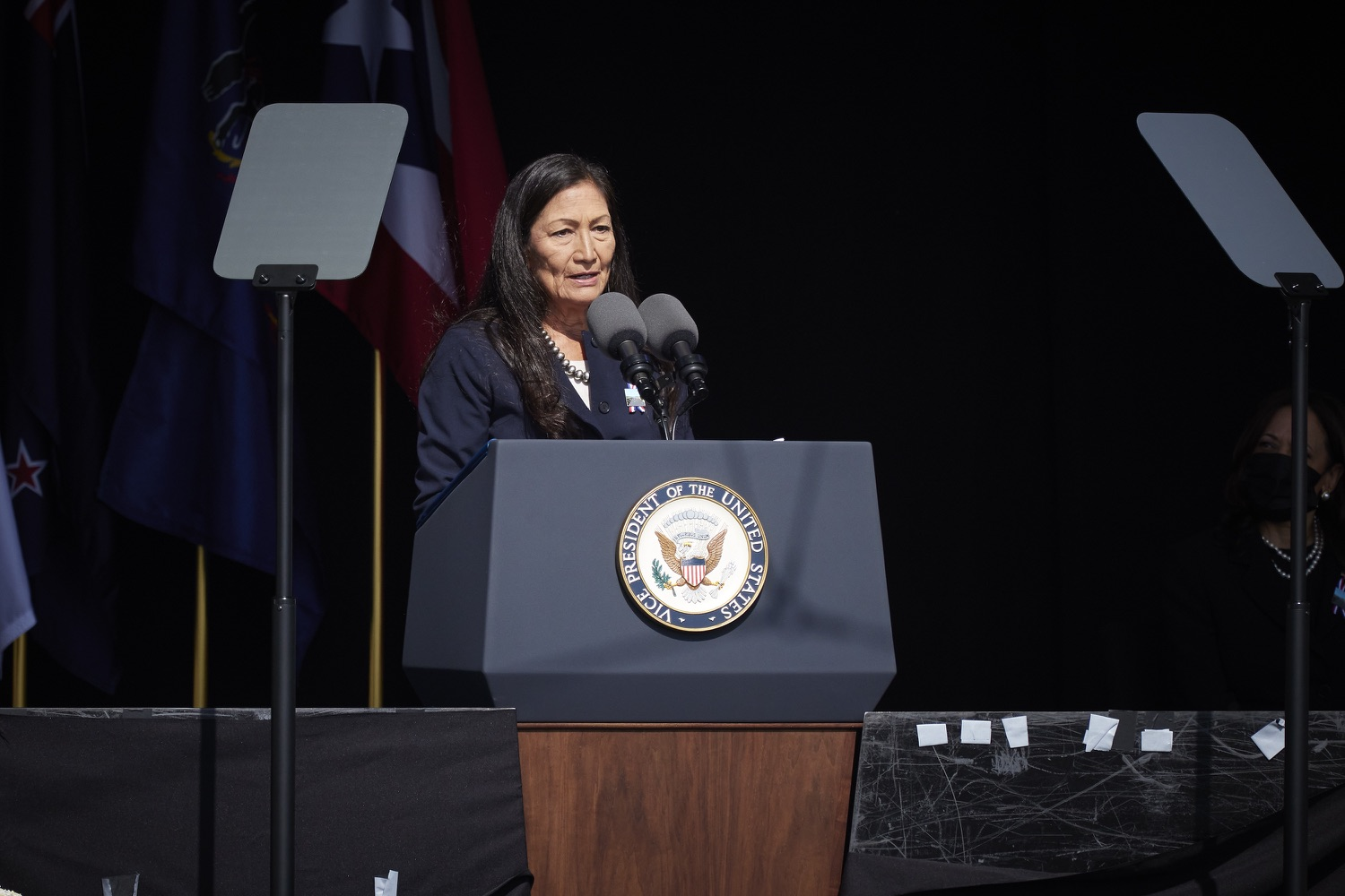 """<a href=""""https://filesource.wostreaming.net/commonwealthofpa/photo/19117_gov_Flight_93_Memorial_dz_013_copy.jpg"""" target=""""_blank"""">⇣Download Photo<br></a>Interior Secretary Deb Haaland,  speaks at the 20th annual September 11 observance.  Today, Governor Tom Wolf visited the Flight 93 National Memorial for the 20th annual September 11 observance. Gov. Wolf joined families and guests to honor the passengers and crew of Flight 93. Flight 93 National Memorial, Shanksville, PA - September 11, 2021"""