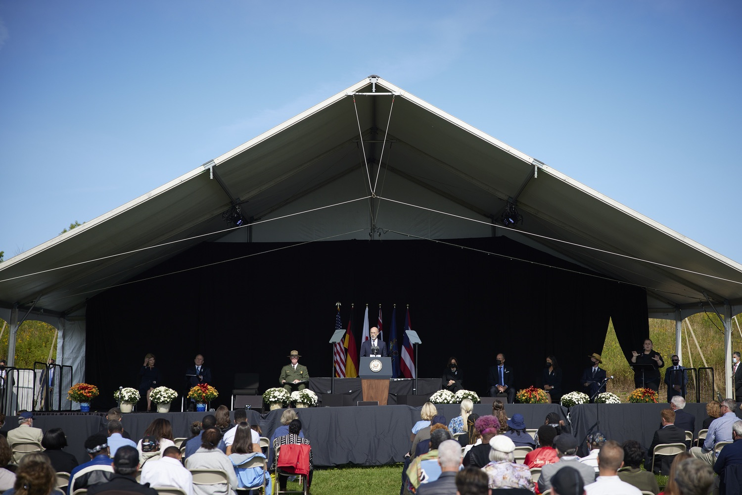 """<a href=""""https://filesource.wostreaming.net/commonwealthofpa/photo/19117_gov_Flight_93_Memorial_dz_024_copy.jpg"""" target=""""_blank"""">⇣Download Photo<br></a>Pennsylvania Governor Tom Wolf speaks at the 20th annual September 11 observance.  Today, Governor Tom Wolf visited the Flight 93 National Memorial for the 20th annual September 11 observance. Gov. Wolf joined families and guests to honor the passengers and crew of Flight 93. Flight 93 National Memorial, Shanksville, PA - September 11, 2021"""