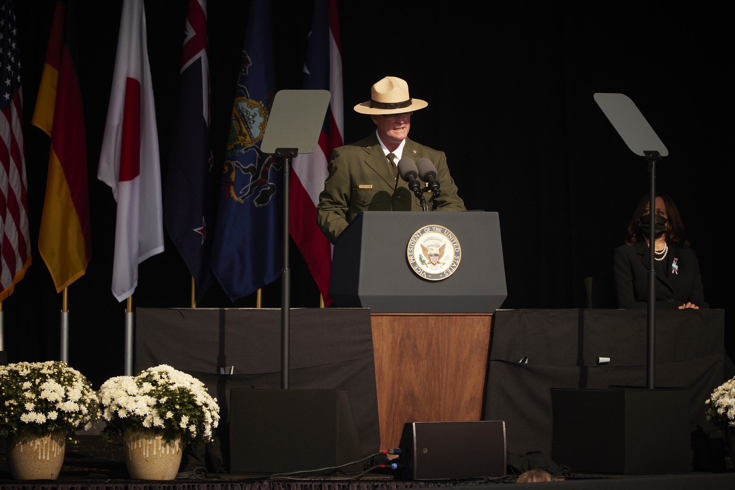 """<a href=""""https://filesource.wostreaming.net/commonwealthofpa/photo/19117_gov_Flight_93_Memorial_dz_504.JPG"""" target=""""_blank"""">⇣Download Photo<br></a>Stephen Clark, Superintendent Flight 93 National Memorial speaks at the memorial.Today, Governor Tom Wolf visited the Flight 93 National Memorial for the 20th annual September 11 observance. Gov. Wolf joined families and guests to honor the passengers and crew of Flight 93. Flight 93 National Memorial, Shanksville, PA - September 11, 2021"""