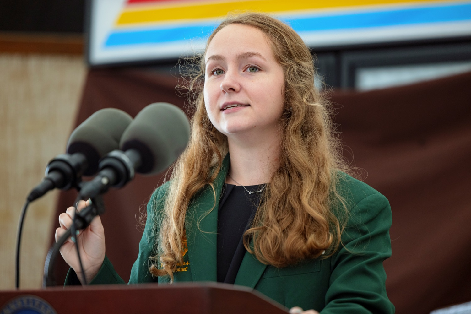 """<a href=""""https://filesource.wostreaming.net/commonwealthofpa/photo/19118_AG_FarmShowTheme_NK_010.jpg"""" target=""""_blank"""">⇣Download Photo<br></a>Livy Jumper, 4-H State Council President, speaks during a press conference, which announced the 106th Pennsylvania Farm Show will run from Saturday, January 8 through Saturday, January 15 and will be hosted at the Pennsylvania Farm Show Complex in Harrisburg, at Vale Wood Farms in Loretto on Thursday, September 16, 2021."""