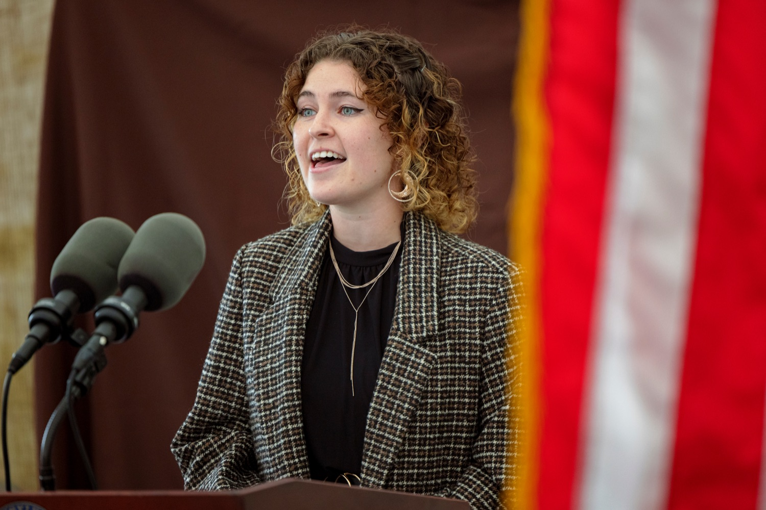 """<a href=""""https://filesource.wostreaming.net/commonwealthofpa/photo/19118_AG_FarmShowTheme_NK_022.jpg"""" target=""""_blank"""">⇣Download Photo<br></a>Rachel Duke sings the national anthem during a press conference, which announced the 106th Pennsylvania Farm Show will run from Saturday, January 8 through Saturday, January 15 and will be hosted at the Pennsylvania Farm Show Complex in Harrisburg, at Vale Wood Farms in Loretto on Thursday, September 16, 2021."""