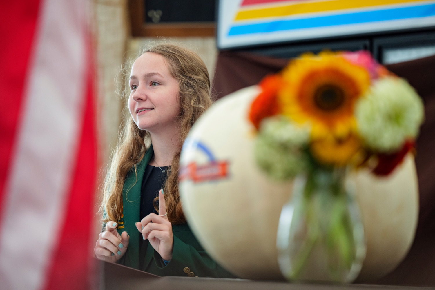 """<a href=""""https://filesource.wostreaming.net/commonwealthofpa/photo/19118_AG_FarmShowTheme_NK_024.jpg"""" target=""""_blank"""">⇣Download Photo<br></a>Livy Jumper, 4-H State Council President, speaks during a press conference, which announced the 106th Pennsylvania Farm Show will run from Saturday, January 8 through Saturday, January 15 and will be hosted at the Pennsylvania Farm Show Complex in Harrisburg, at Vale Wood Farms in Loretto on Thursday, September 16, 2021."""