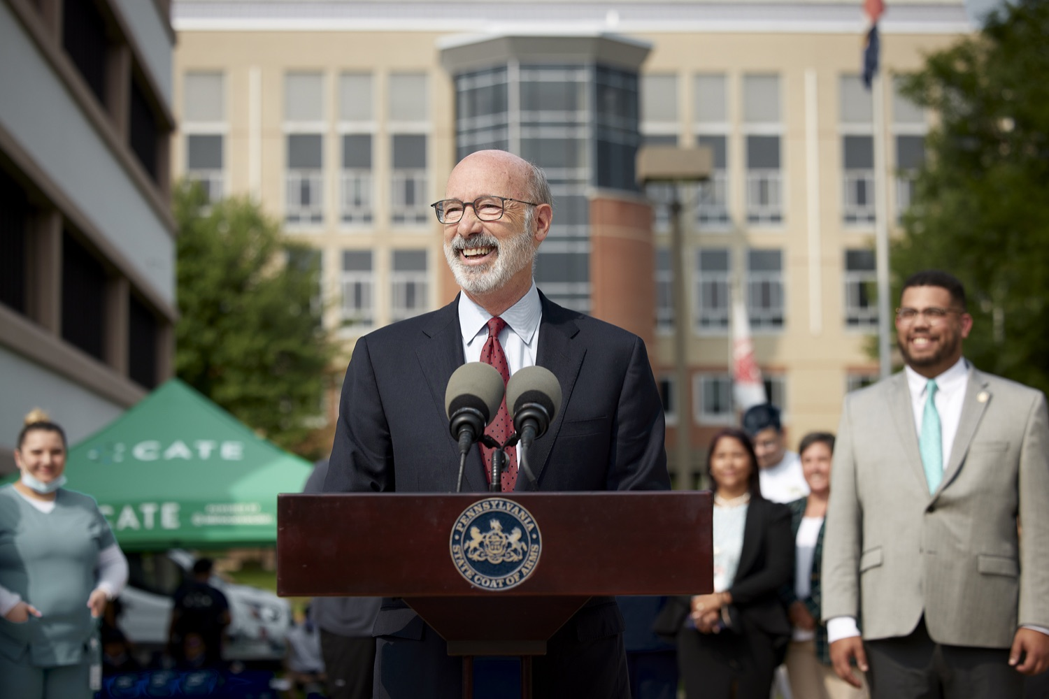 """<a href=""""https://filesource.wostreaming.net/commonwealthofpa/photo/19120_gov_vaccines_dz_004.jpg"""" target=""""_blank"""">⇣Download Photo<br></a>Pennsylvania Governor Tom Wolf speaking with the press.  Governor Tom Wolf, state leaders, and community partners visited a local vaccine clinic to encourage eligible Pennsylvanians to do their part to end the COVID-19 pandemic by getting vaccinated.   Reading, PA - September 14, 2021"""