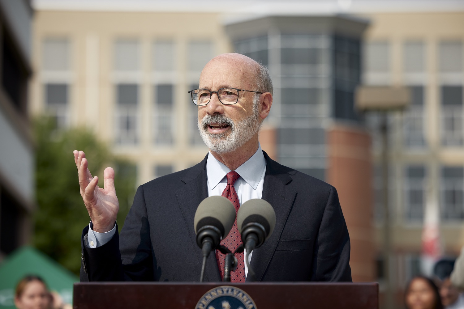 """<a href=""""https://filesource.wostreaming.net/commonwealthofpa/photo/19120_gov_vaccines_dz_007.jpg"""" target=""""_blank"""">⇣Download Photo<br></a>Pennsylvania Governor Tom Wolf speaking with the press.  Governor Tom Wolf, state leaders, and community partners visited a local vaccine clinic to encourage eligible Pennsylvanians to do their part to end the COVID-19 pandemic by getting vaccinated.   Reading, PA - September 14, 2021"""
