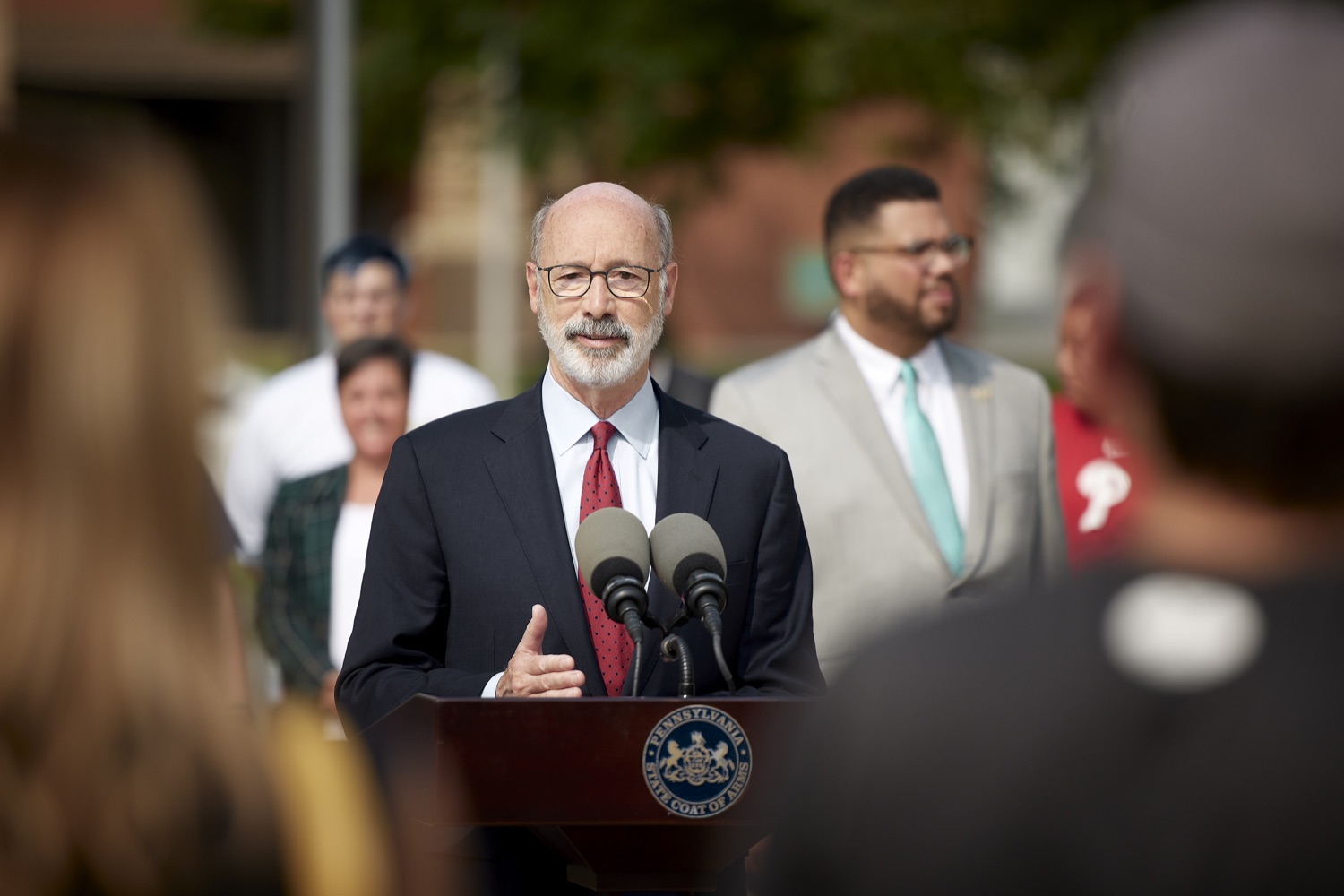 """<a href=""""https://filesource.wostreaming.net/commonwealthofpa/photo/19120_gov_vaccines_dz_017.jpg"""" target=""""_blank"""">⇣Download Photo<br></a>Pennsylvania Governor Tom Wolf speaking with the press.  Governor Tom Wolf, state leaders, and community partners visited a local vaccine clinic to encourage eligible Pennsylvanians to do their part to end the COVID-19 pandemic by getting vaccinated.   Reading, PA - September 14, 2021"""