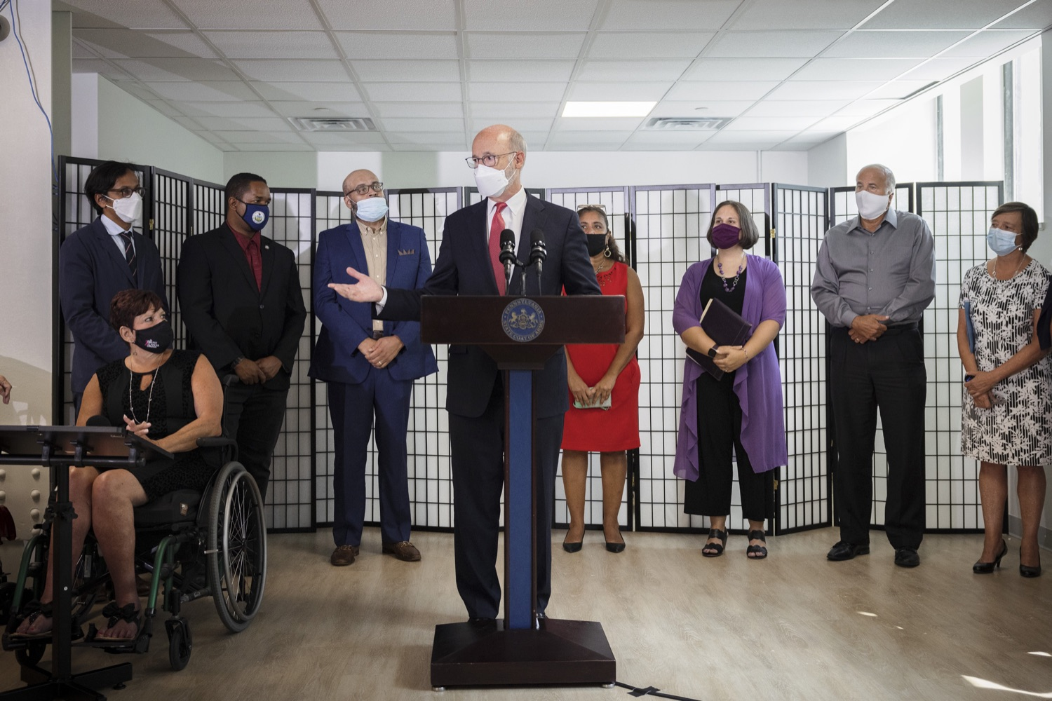 """<a href=""""https://filesource.wostreaming.net/commonwealthofpa/photo/19129_gov_opioidEpidemic_dz_027.jpg"""" target=""""_blank"""">⇣Download Photo<br></a>Pennsylvania Governor Tom Wolf speaking with the press.  Governor Tom Wolf, state leaders, and community partners today visited the Philadelphia neighborhood, Kensington, and Esperanza Health Center to discuss the devastating affects of the opioid epidemic and what can be done to help curb the increase in overdoses throughout the commonwealth.  Philadelphia, PA. - September 16, 2021"""