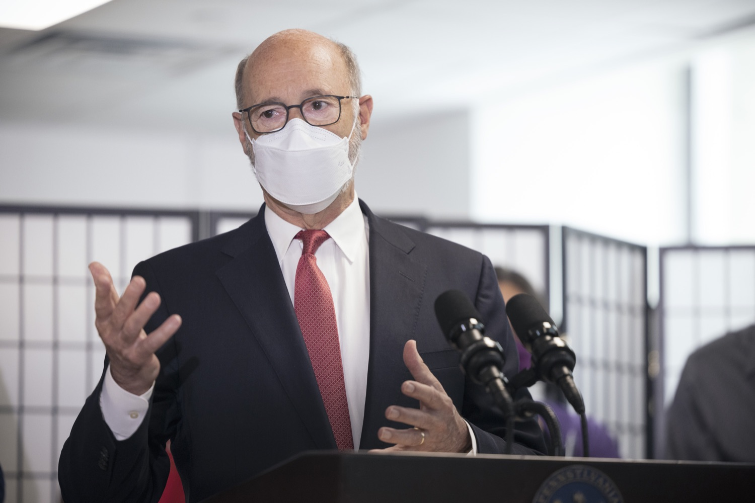 """<a href=""""https://filesource.wostreaming.net/commonwealthofpa/photo/19129_gov_opioidEpidemic_dz_037.jpg"""" target=""""_blank"""">⇣Download Photo<br></a>Pennsylvania Governor Tom Wolf speaking with the press.  Governor Tom Wolf, state leaders, and community partners today visited the Philadelphia neighborhood, Kensington, and Esperanza Health Center to discuss the devastating affects of the opioid epidemic and what can be done to help curb the increase in overdoses throughout the commonwealth.  Philadelphia, PA. - September 16, 2021"""