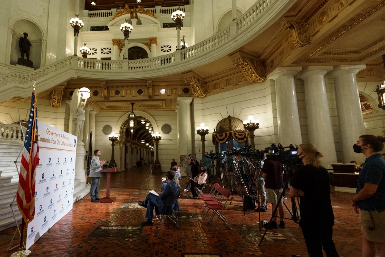 """<a href=""""https://filesource.wostreaming.net/commonwealthofpa/photo/19130_GACLA_HispanicHeritage_NK_003.jpg"""" target=""""_blank"""">⇣Download Photo<br></a>State Rep. Manny Guzman speaks during a press conference to kick-off and recognize the start of Hispanic Heritage Month 2021 inside the capitol rotunda on Wednesday, September 15, 2021."""
